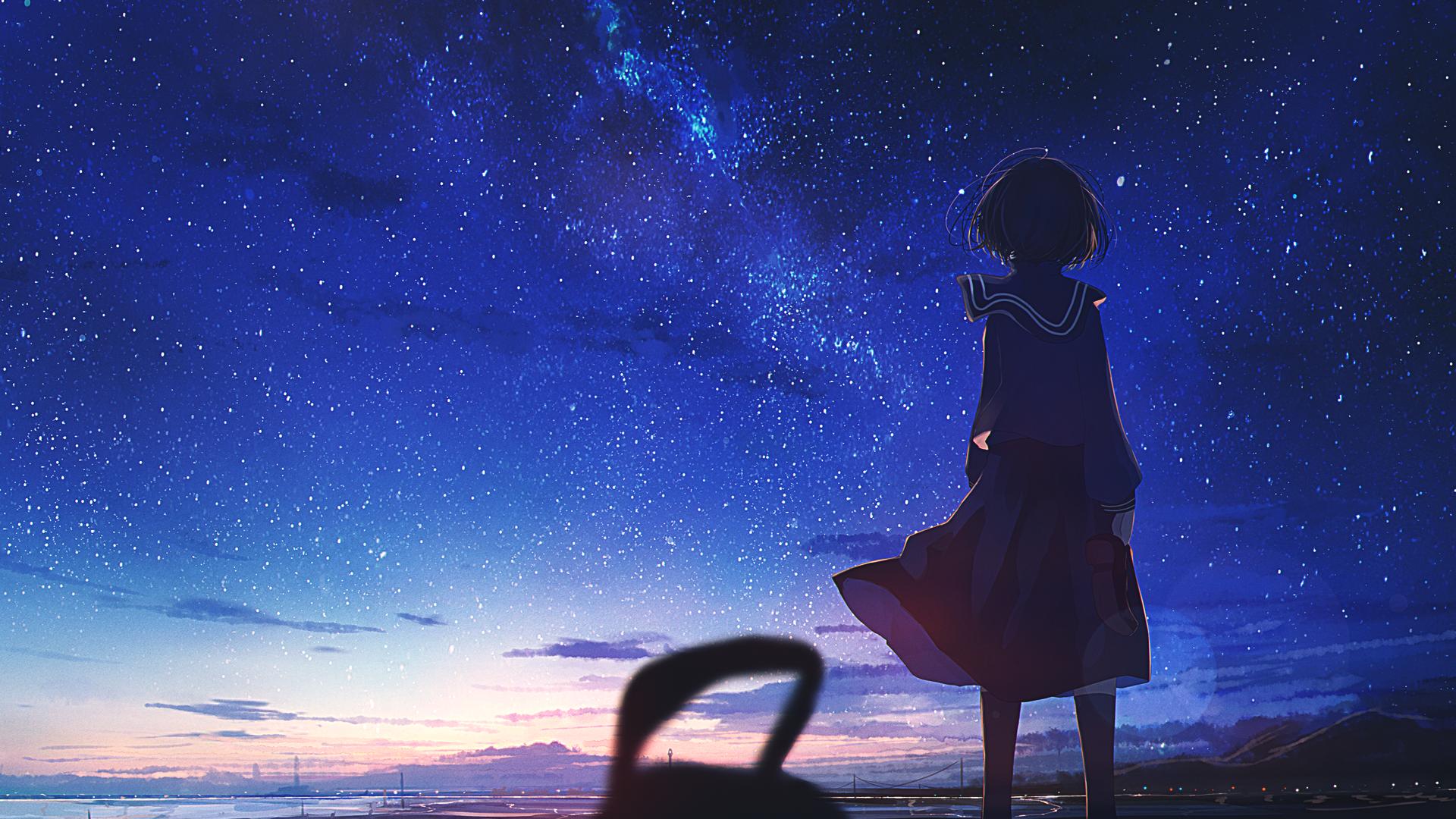 Anime 1920x1080 starry night anime girls anime sky stars outdoors sunset