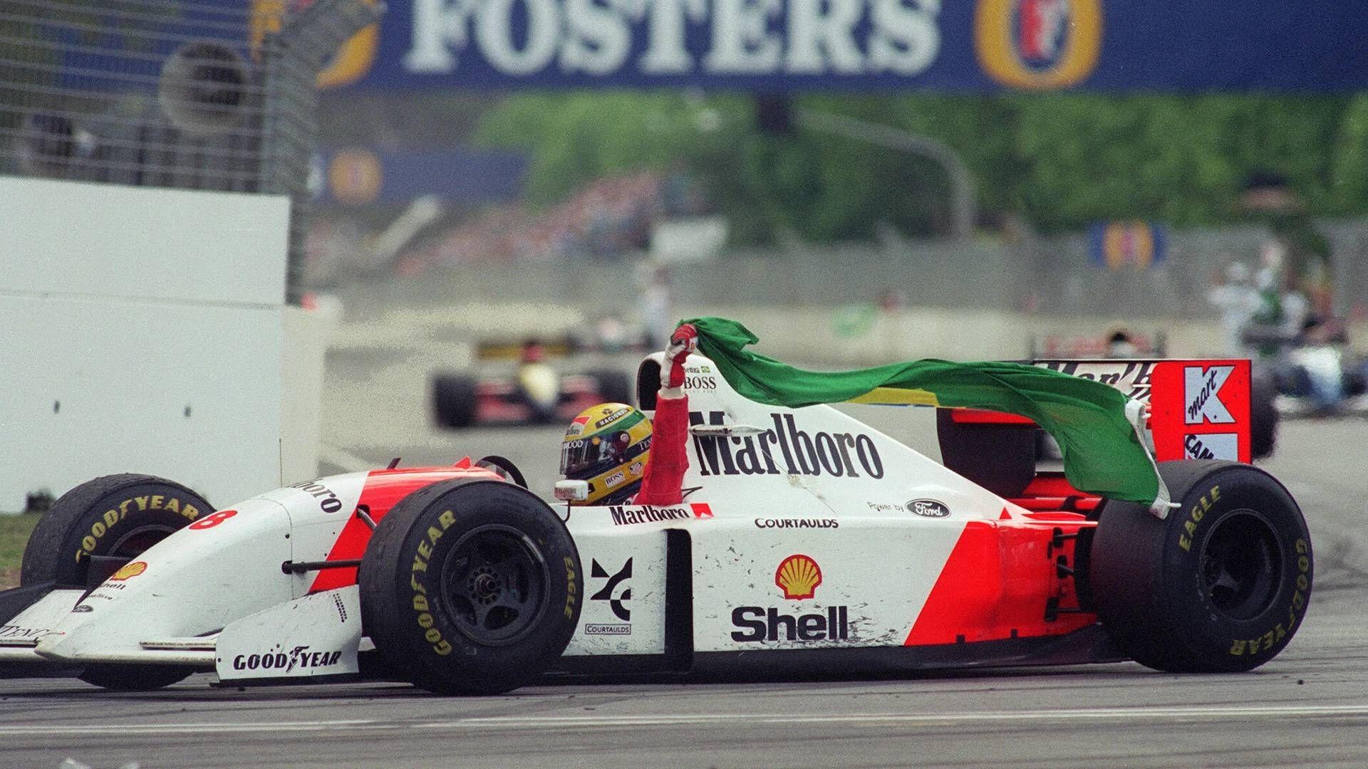 General 1920x1080 Formula 1 McLaren Mclaren Mp4 Marlboro Ayrton Senna helmet Brazil flag sports racing