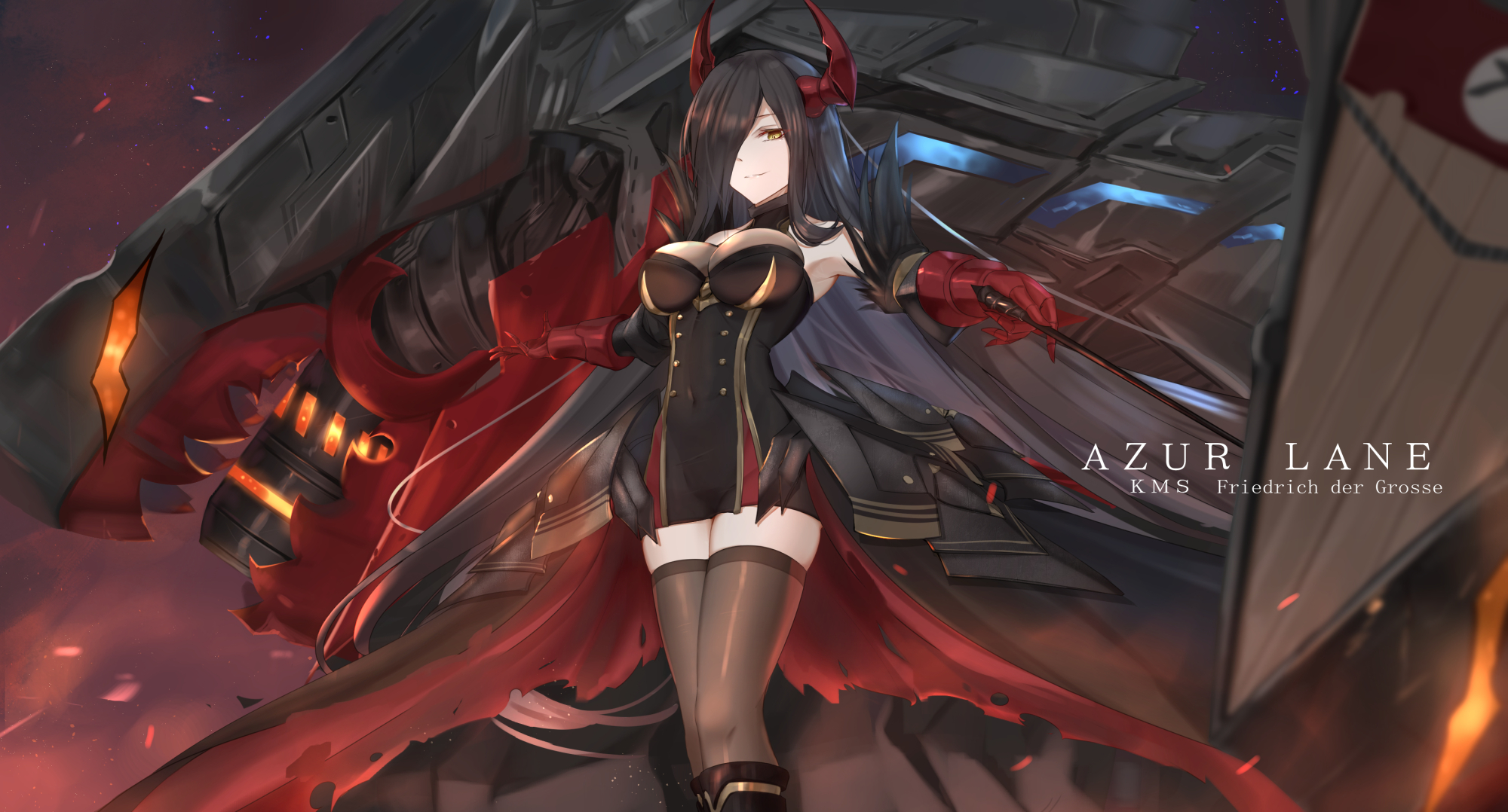 Anime 2000x1078 Friedrich der Grosse Azur Lane video games video game girls anime girls black hair long hair yellow eyes horns smiling cleavage dress stockings bokeh dragon fantasy girl fantasy art artwork digital art drawing 2D fan art demon girls