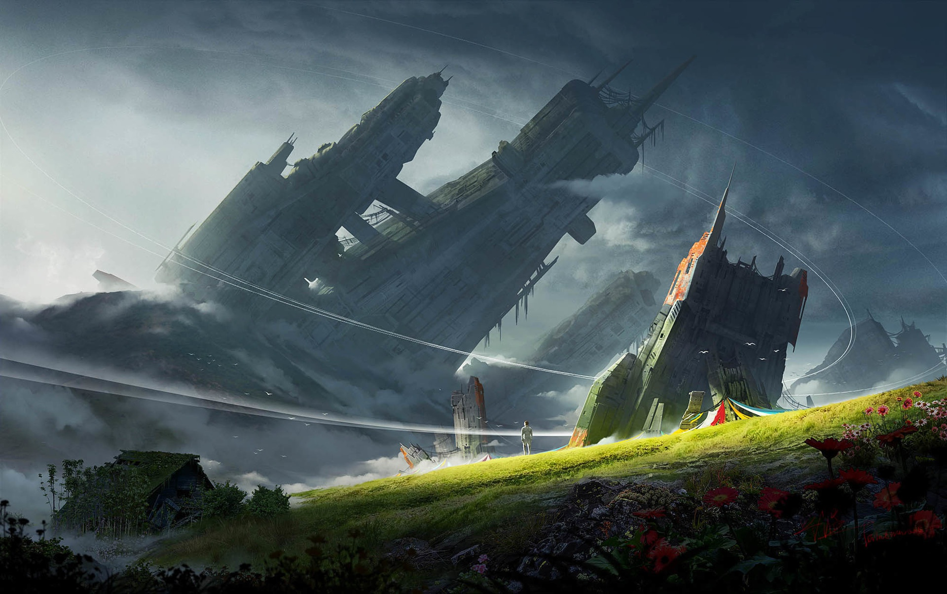 General 1920x1204 science fiction artwork landscape sky building