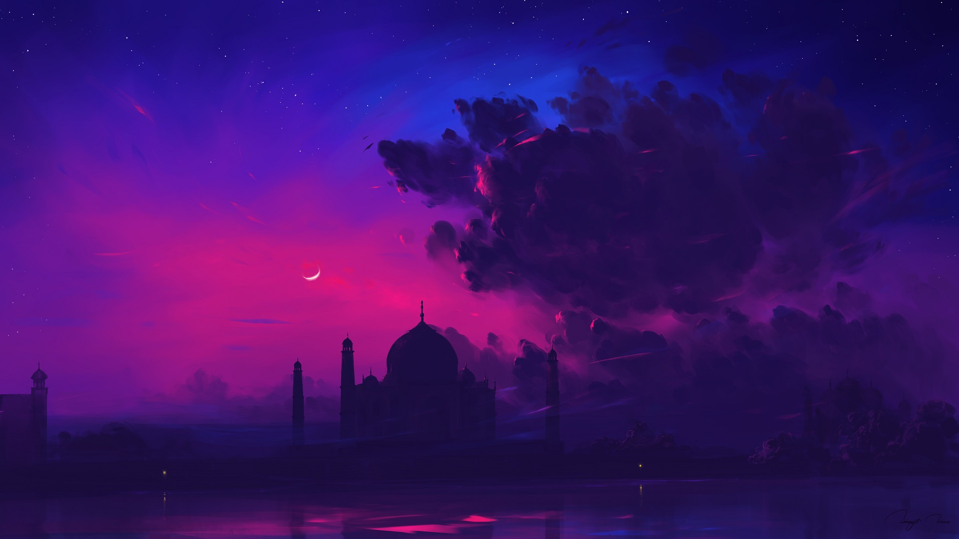 General 1920x1080 BisBiswas Taj Mahal digital art landscape Indian Architecture purple
