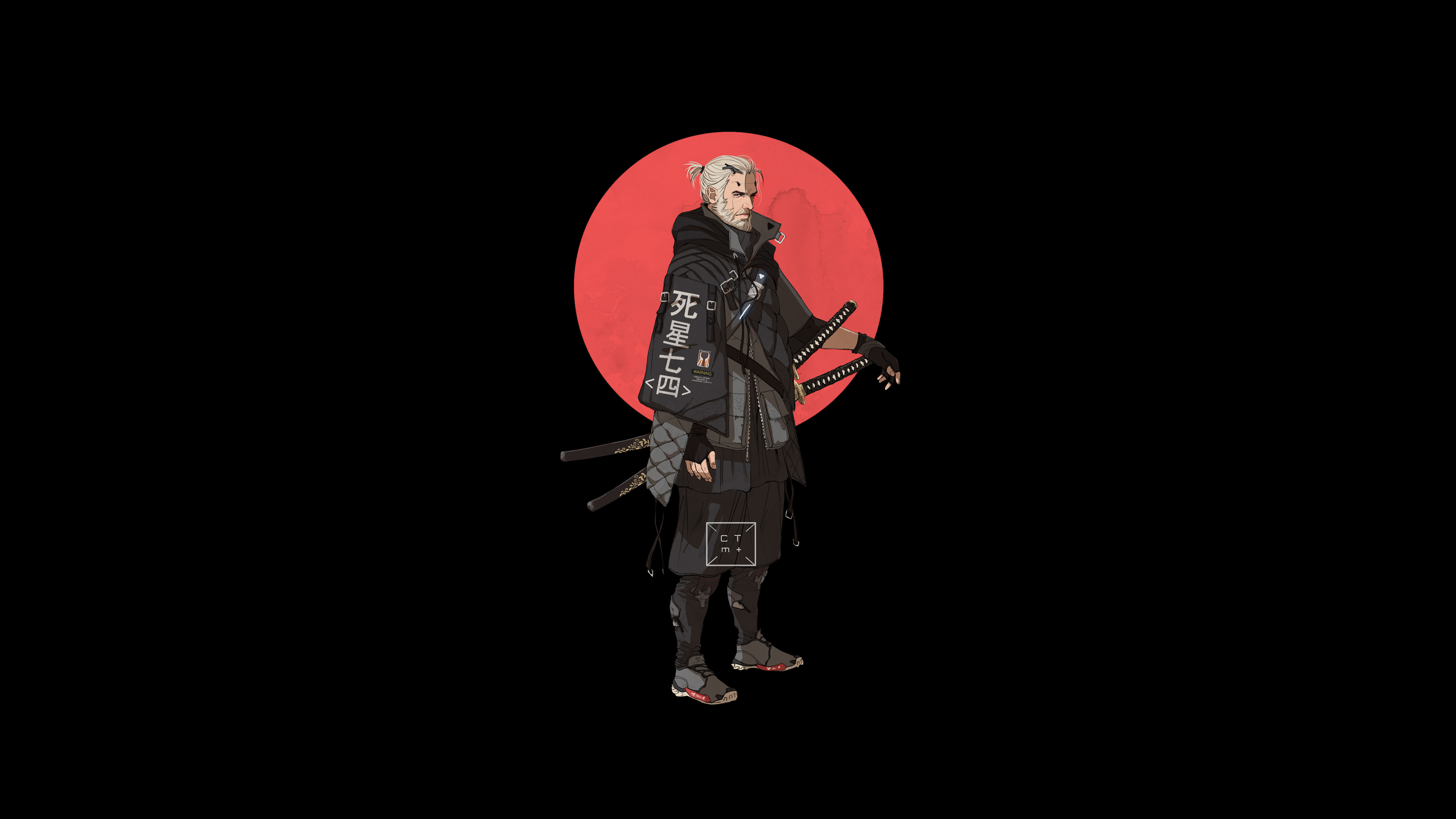 Anime 3840x2160 katana Geralt of Rivia black background minimalism simple background The Witcher