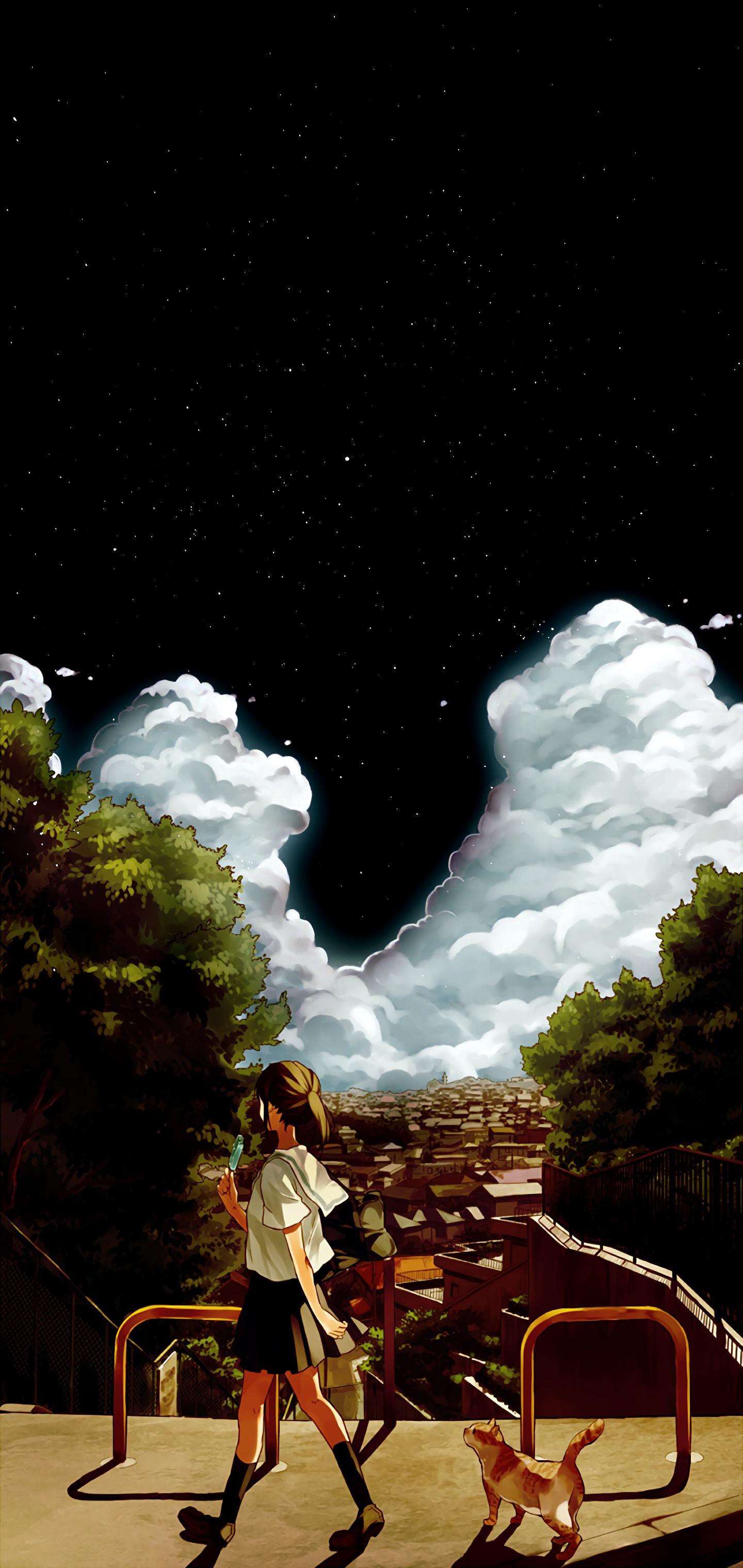 Anime 1440x3040 anime dark clouds anime girls stars sky