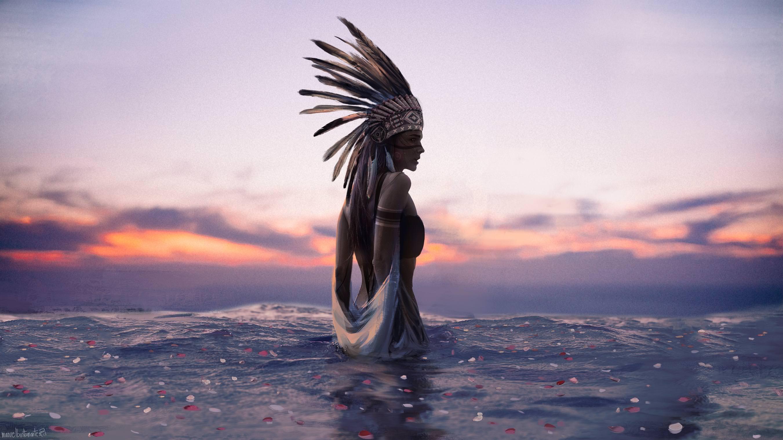 General 2702x1519 Indian sunset water water digital art Native American clothing women violet waves flower petals