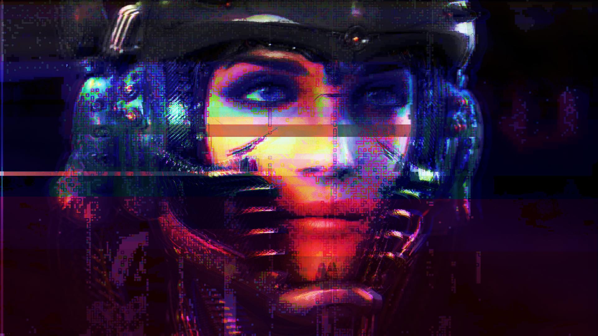 General 1920x1080 cyberpunk glitch art digital art women