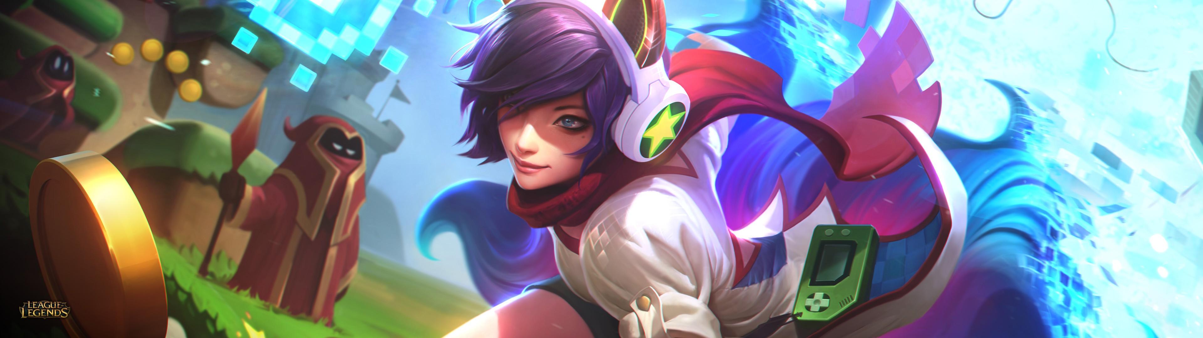 General 3840x1080 arcade skins League of Legends PC gaming fantasy girl purple hair headphones