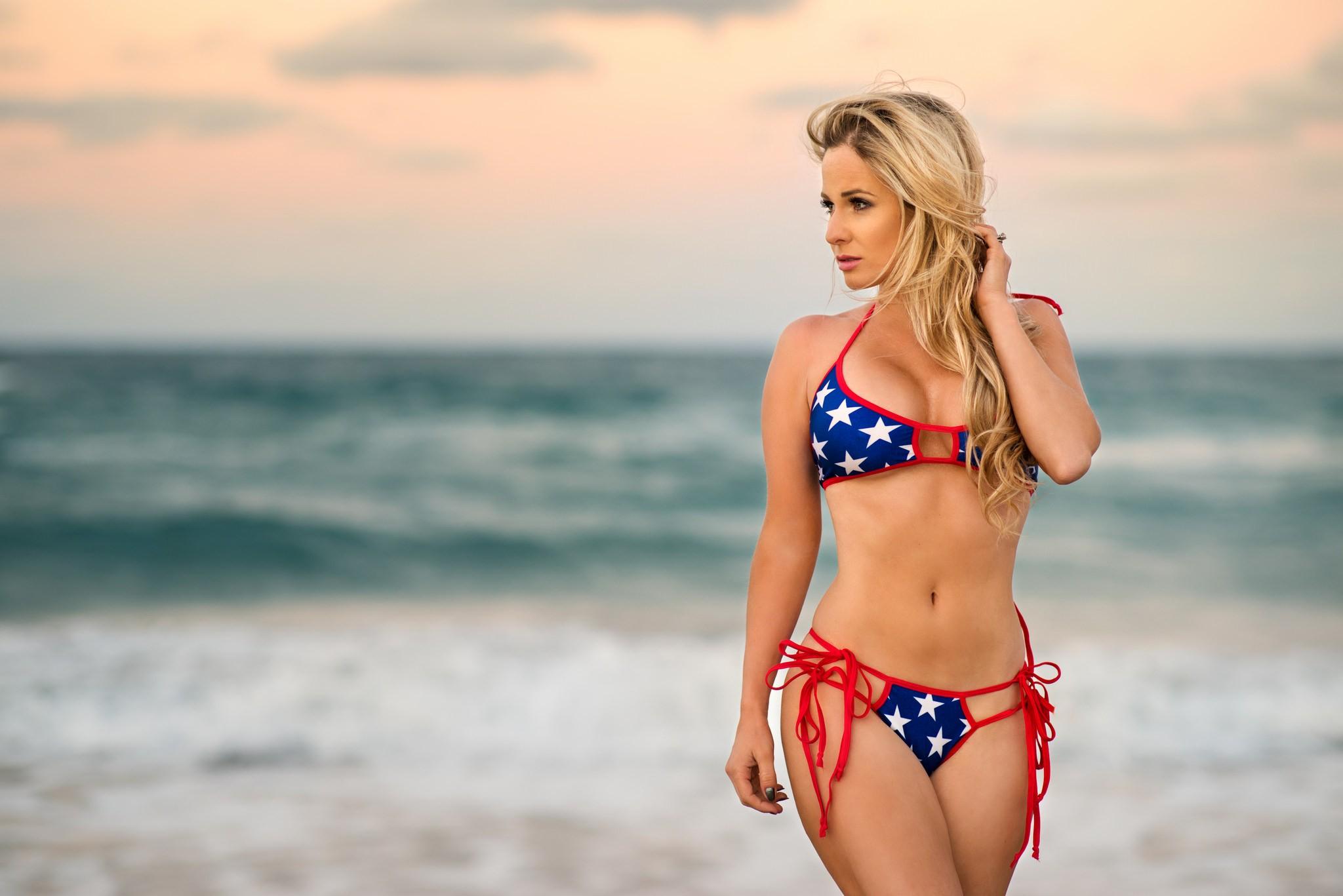 People 2048x1367 women blonde belly bikini sea looking away depth of field hips women outdoors windy brown eyes waves cleavage Lauren Kristina Christopher Rankin