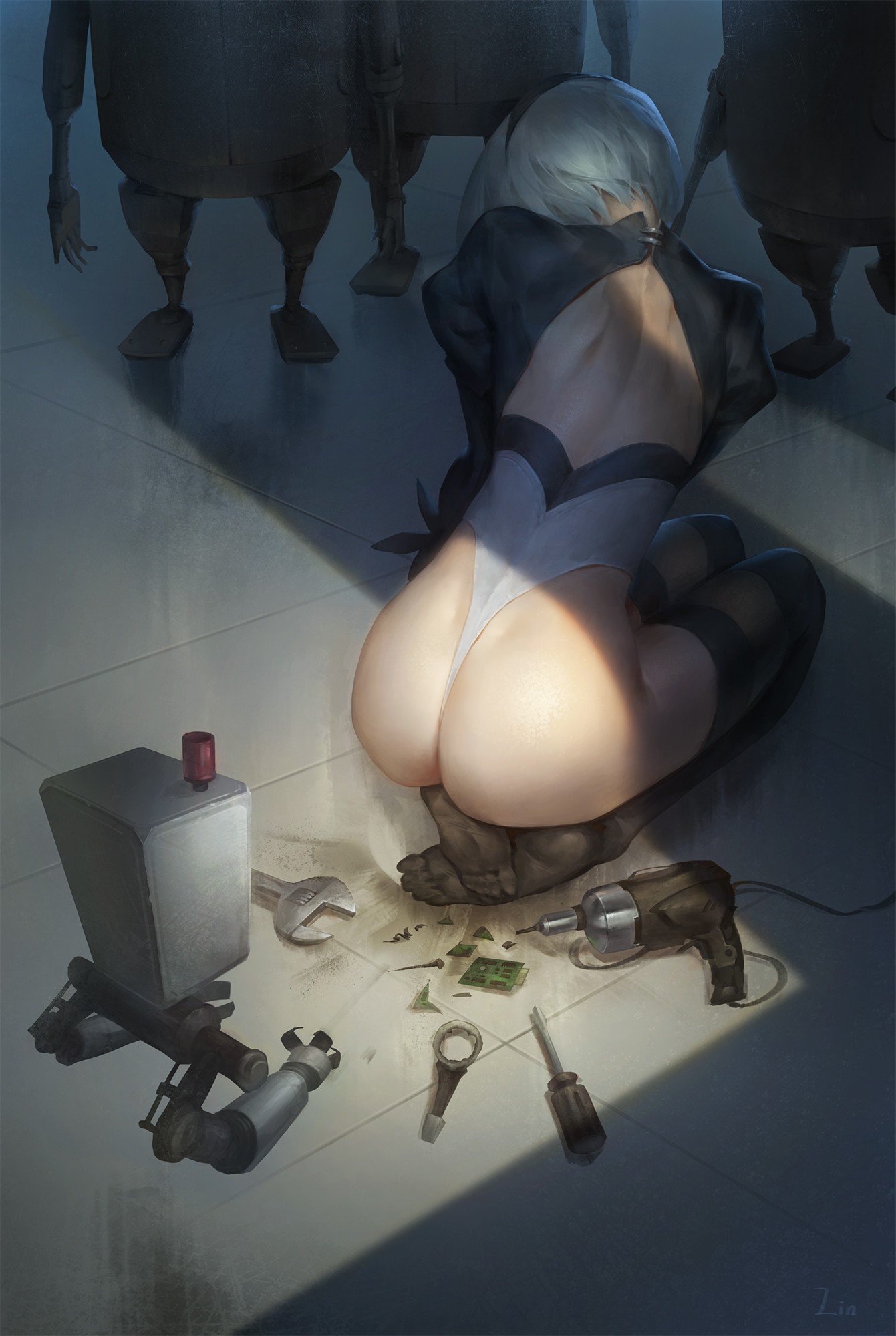 General 1341x2000 Nier: Automata 2B (Nier: Automata) NieR anime girls short hair grey hair ass thighs pantyhose 2D video games cyborg fan art no bra back robot petite