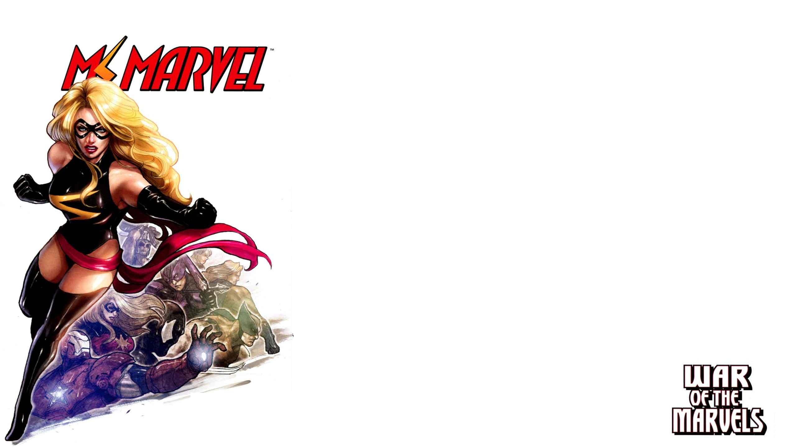 General 2560x1440 Marvel Comics Ms. Marvel superheroines simple background white background blonde