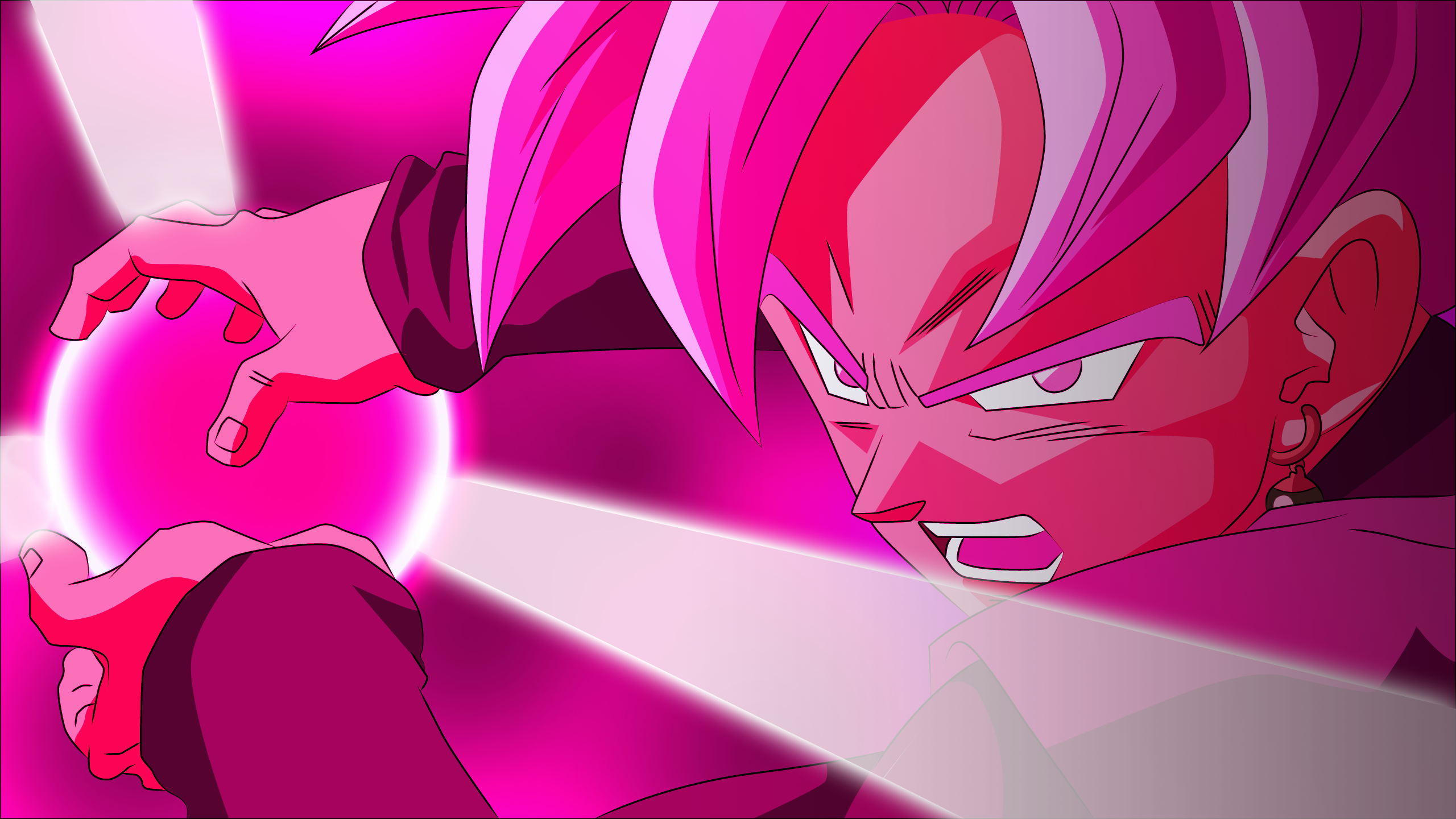 Anime 2560x1440 Dragon Ball Super Black Goku SSJ Rosé Super Saiyajin Rosé Super Saiyan Rosé Dragon Ball pink