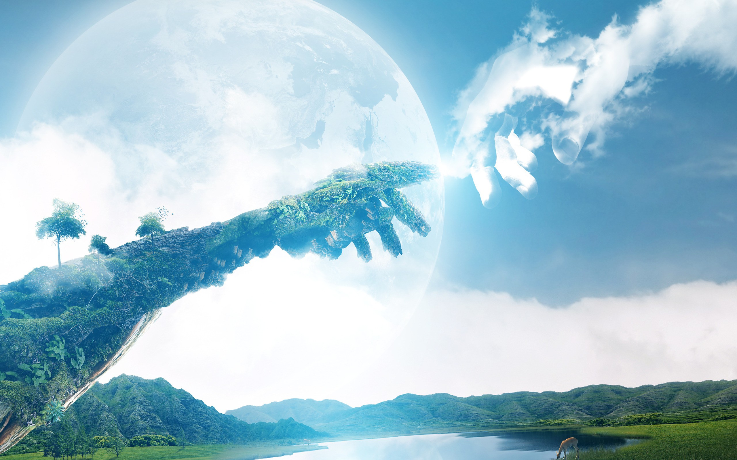 General 2560x1600 digital art hands fingers nature Moon The Creation of Adam trees double exposure lake hills deer clouds God forest birds plants moss grass