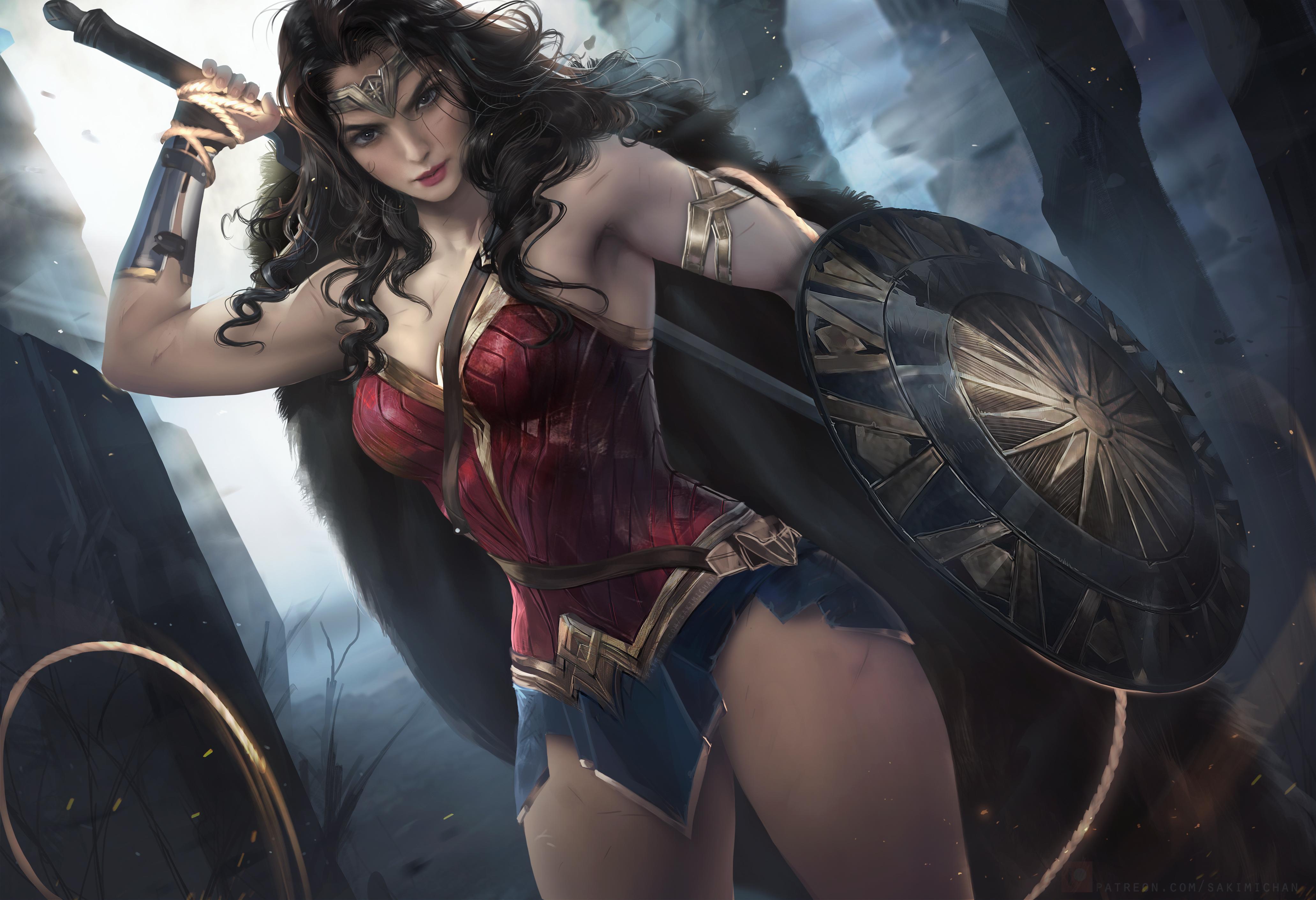 General 4126x2823 Wonder Woman women digital art thighs comics Justice League cleavage miniskirt shield corset warrior whips DC Comics dceu brunette movies Sakimichan artwork comic art