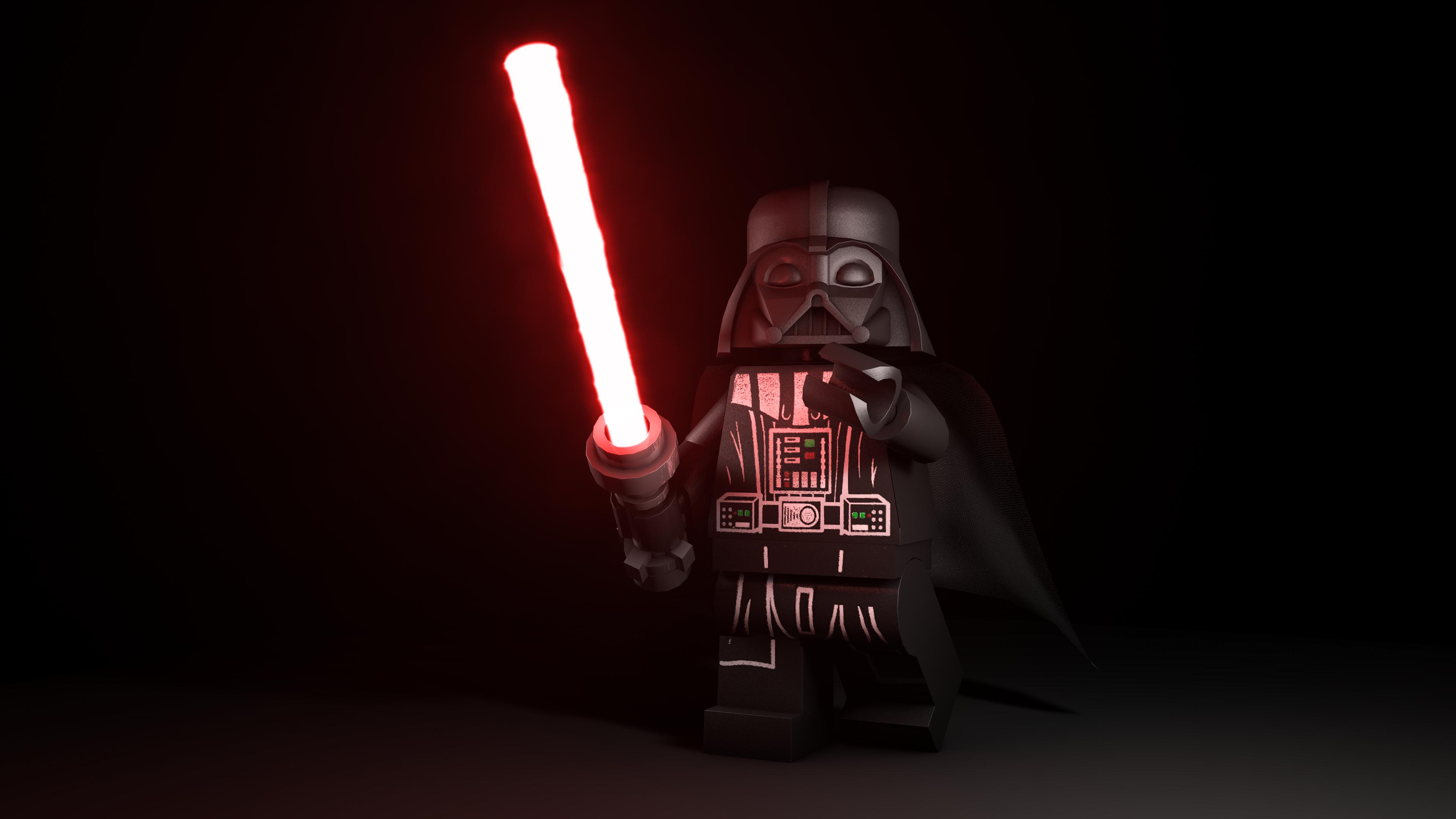 General 3840x2160 Star Wars LEGO Star Wars Darth Vader Sith simple background lightsaber LEGO digital art toys
