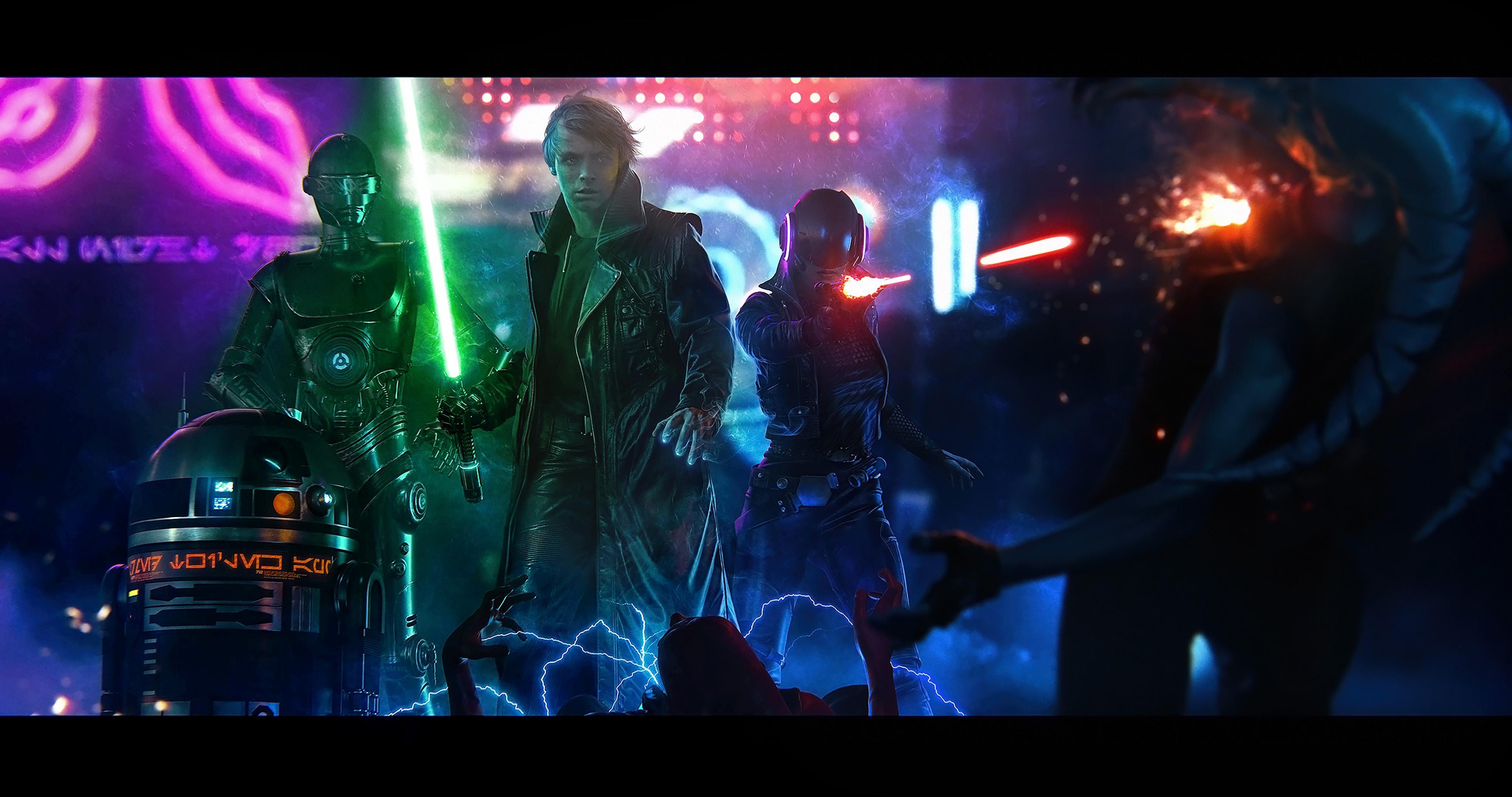 General 4096x2160 Star Wars artwork R2-D2 Luke Skywalker lightsaber Jedi digital art render science fiction cyberpunk Star Wars Droids