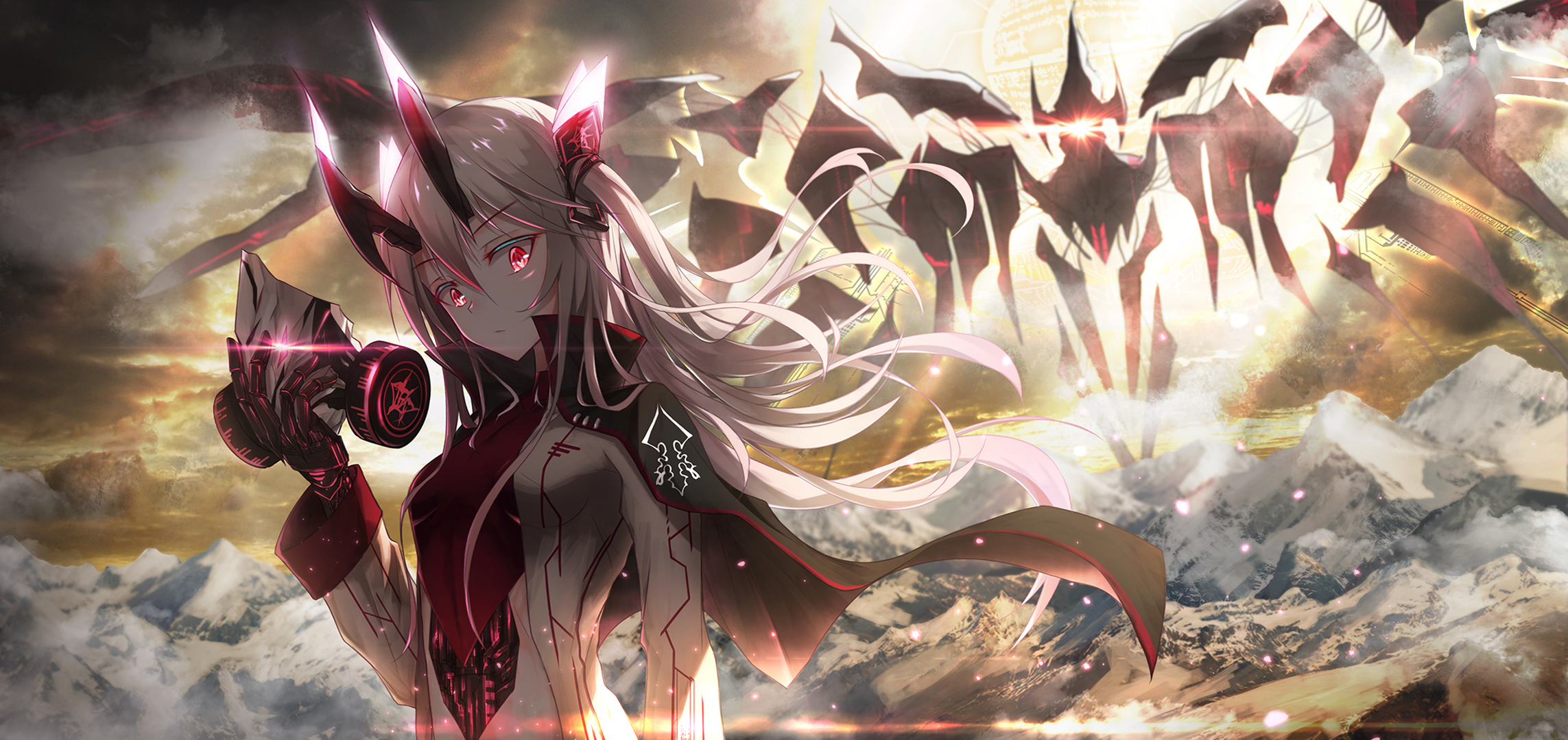 Anime 2286x1080 anime anime girls mask red eyes glowing eyes silver hair gas masks horns Bae.C