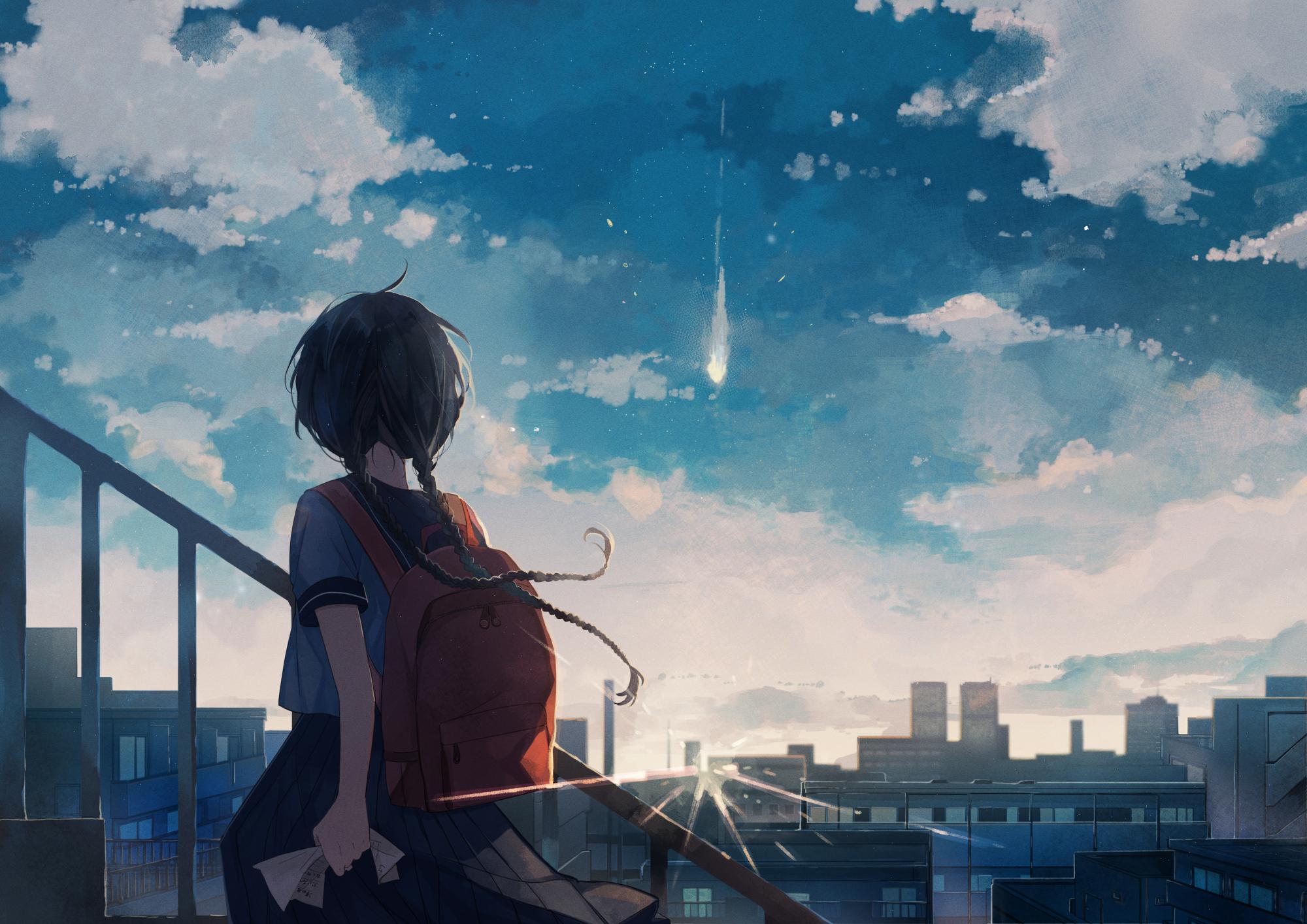Anime 2000x1414 sky blue clouds sunrise sun rays