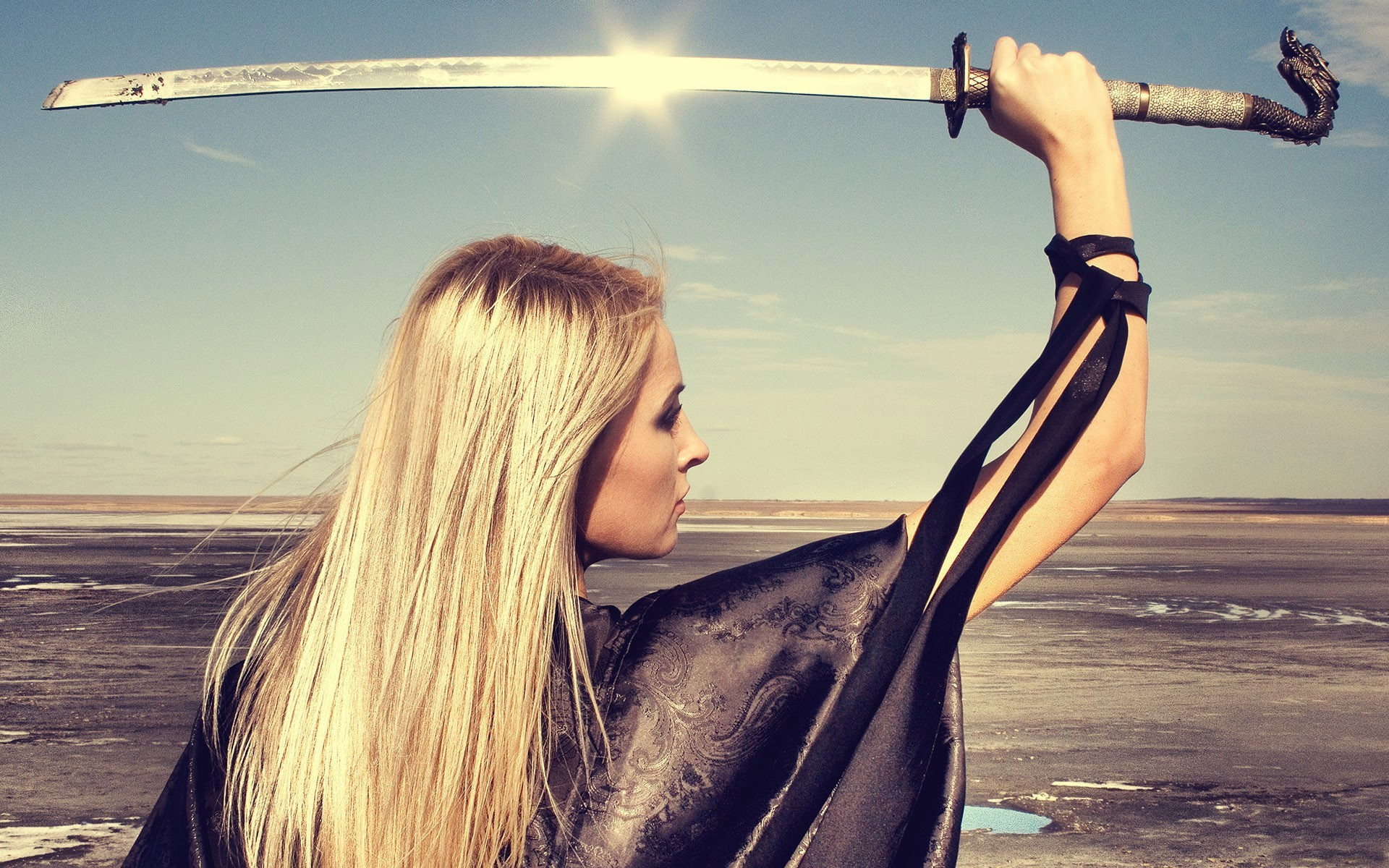 People 1920x1200 women katana sword samurai blonde