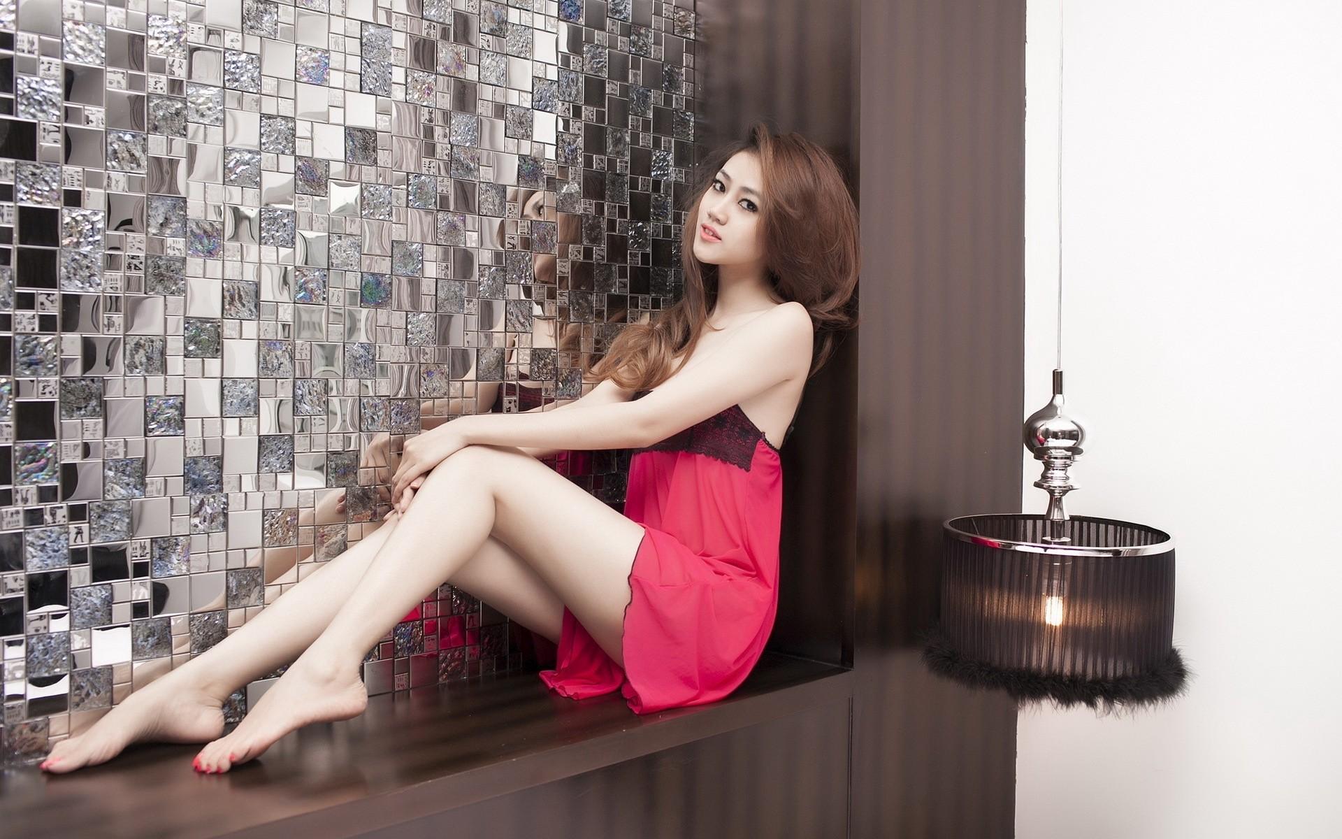 People 1920x1200 women model hair   brunette dress pink dress legs looking at viewer sitting Asian barefoot