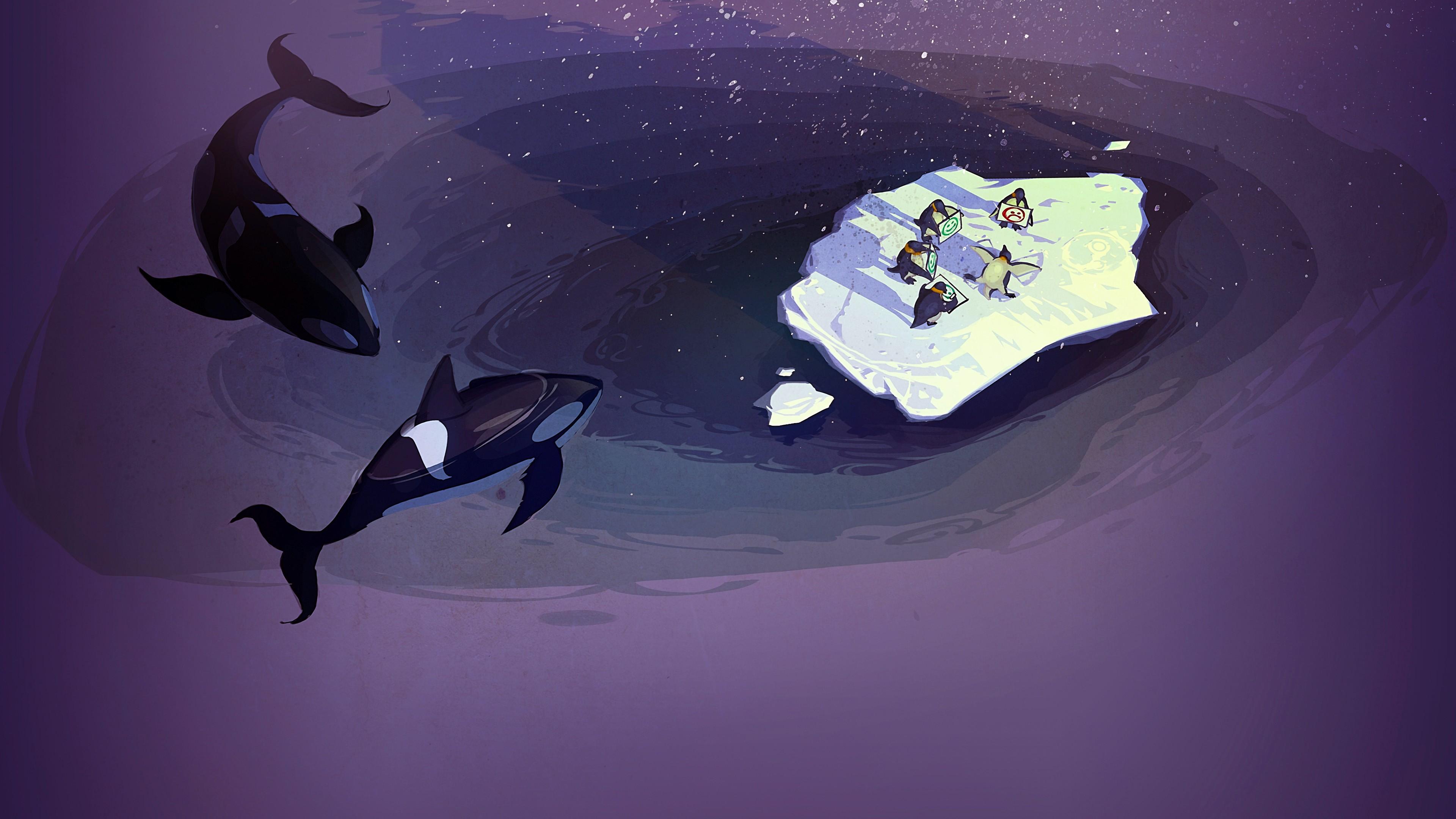 General 3840x2160 Steam (software) concept art penguins orca sea humor purple violet