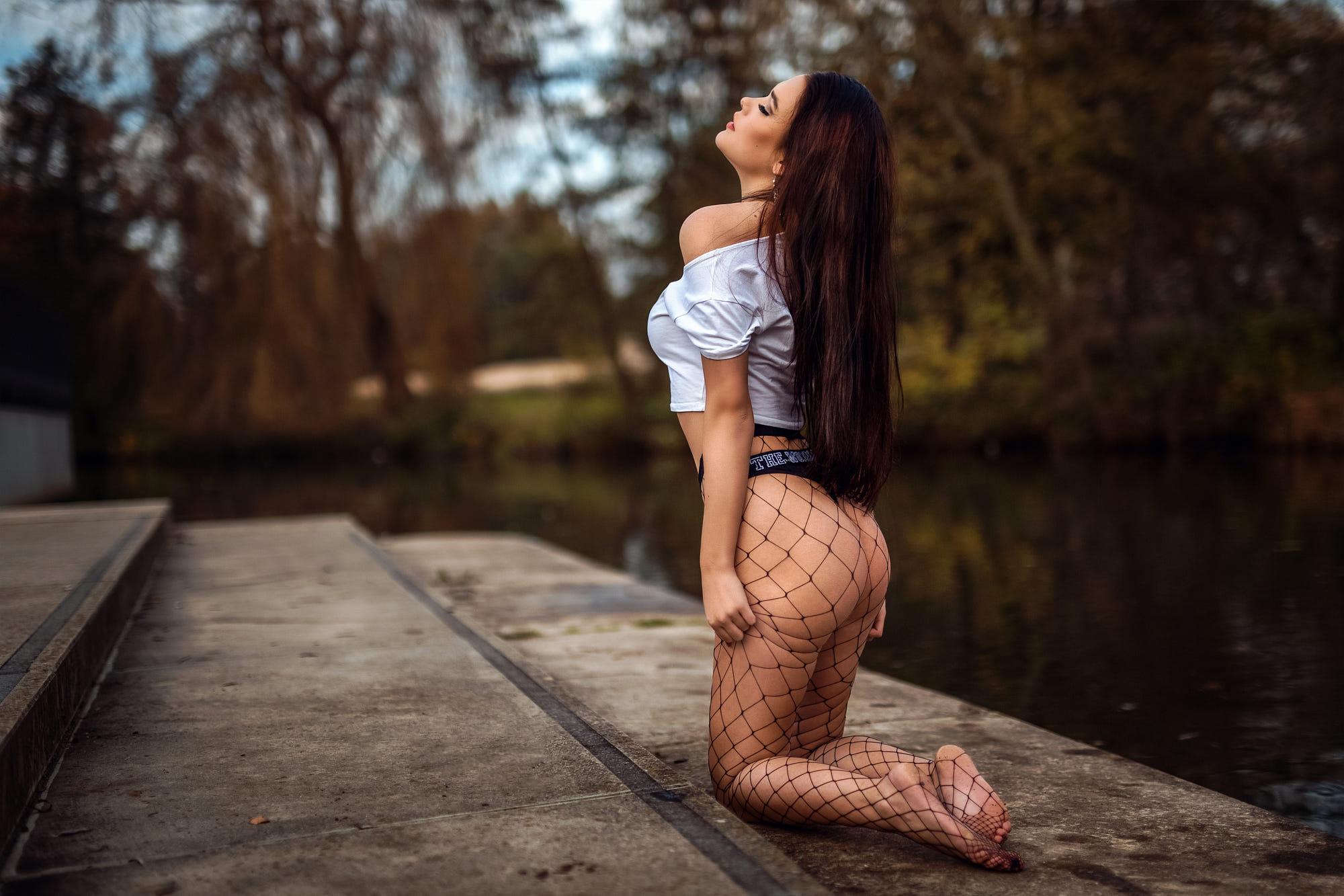 People 2000x1333 women brunette women outdoors stairs long hair closed eyes short tops black panties underwear barefoot thong ass no bra kneeling pantyhose tanned fishnet pond Özgür-Media