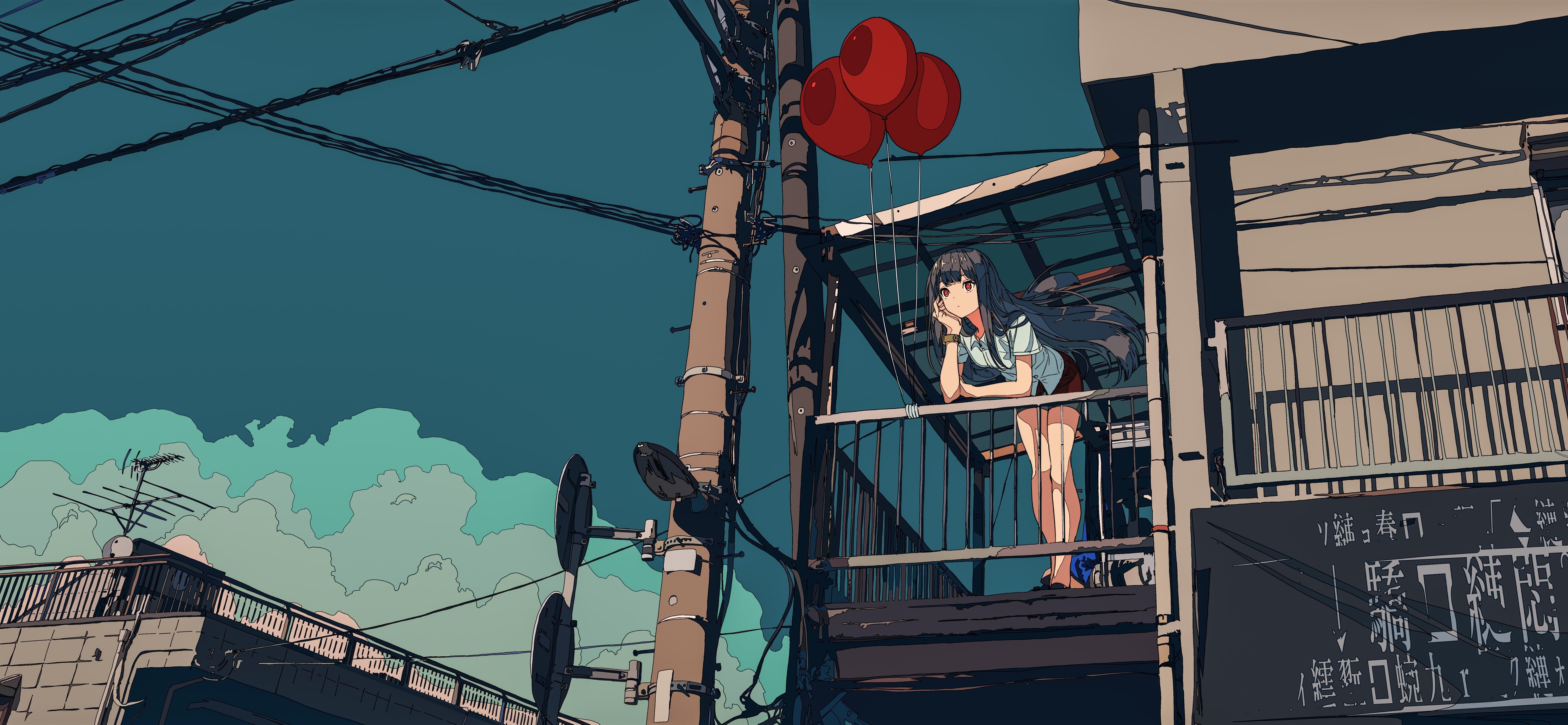 Anime 6560x3032 anime girls sky anime women long hair balloon bent over city urban red eyes Asia