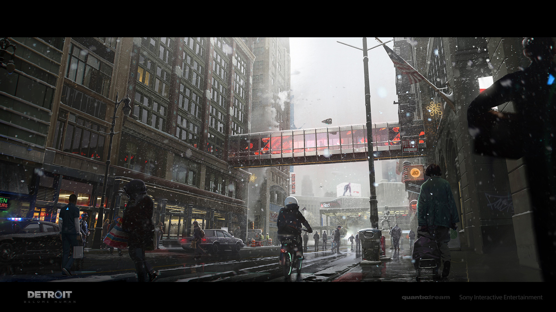 General 1920x1080 Antoine Boutin Detroit become human concept art video game art street bicycle Detroit: Become Human video games Quantic Dream Detroit snow