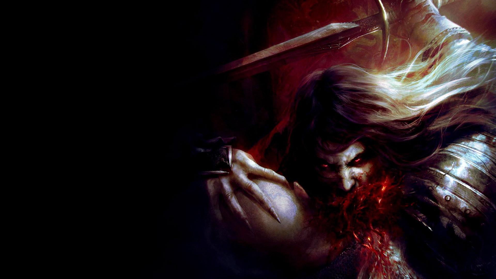 General 1920x1080 Castlevania Castlevania: Lords of Shadow 2 video game art red eyes blood video games dark fantasy fantasy art glowing eyes