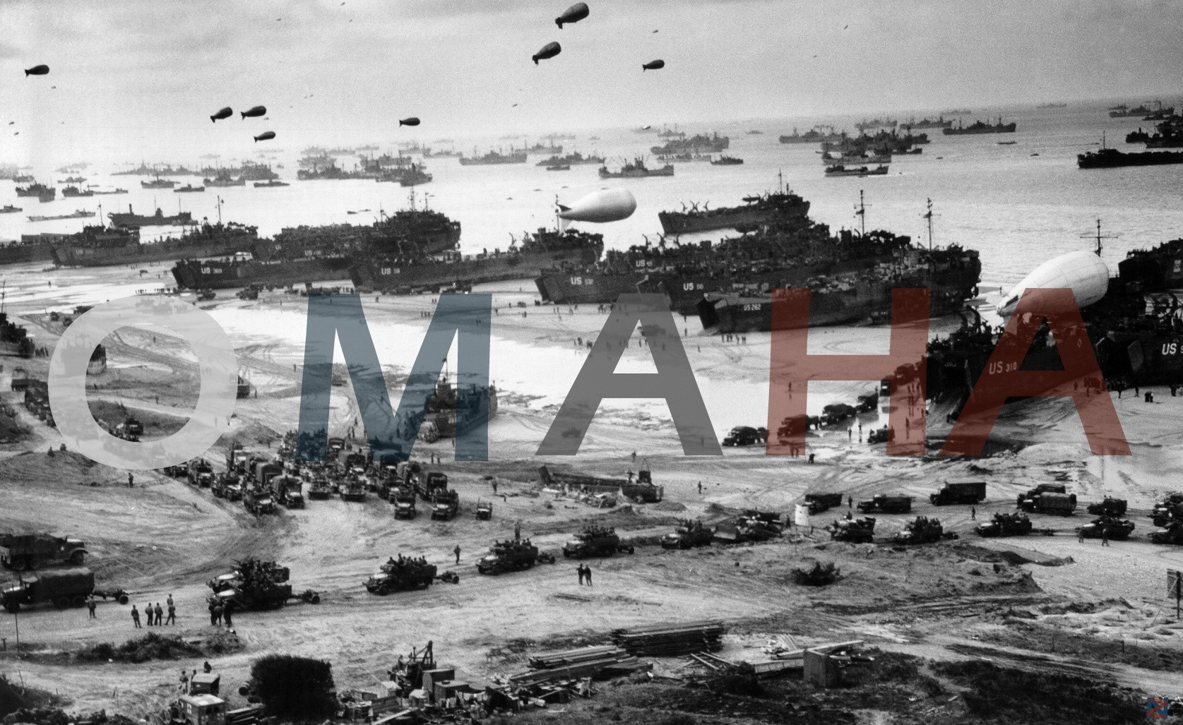 General 1675x1027 war World War II military beach typography selective coloring digital art