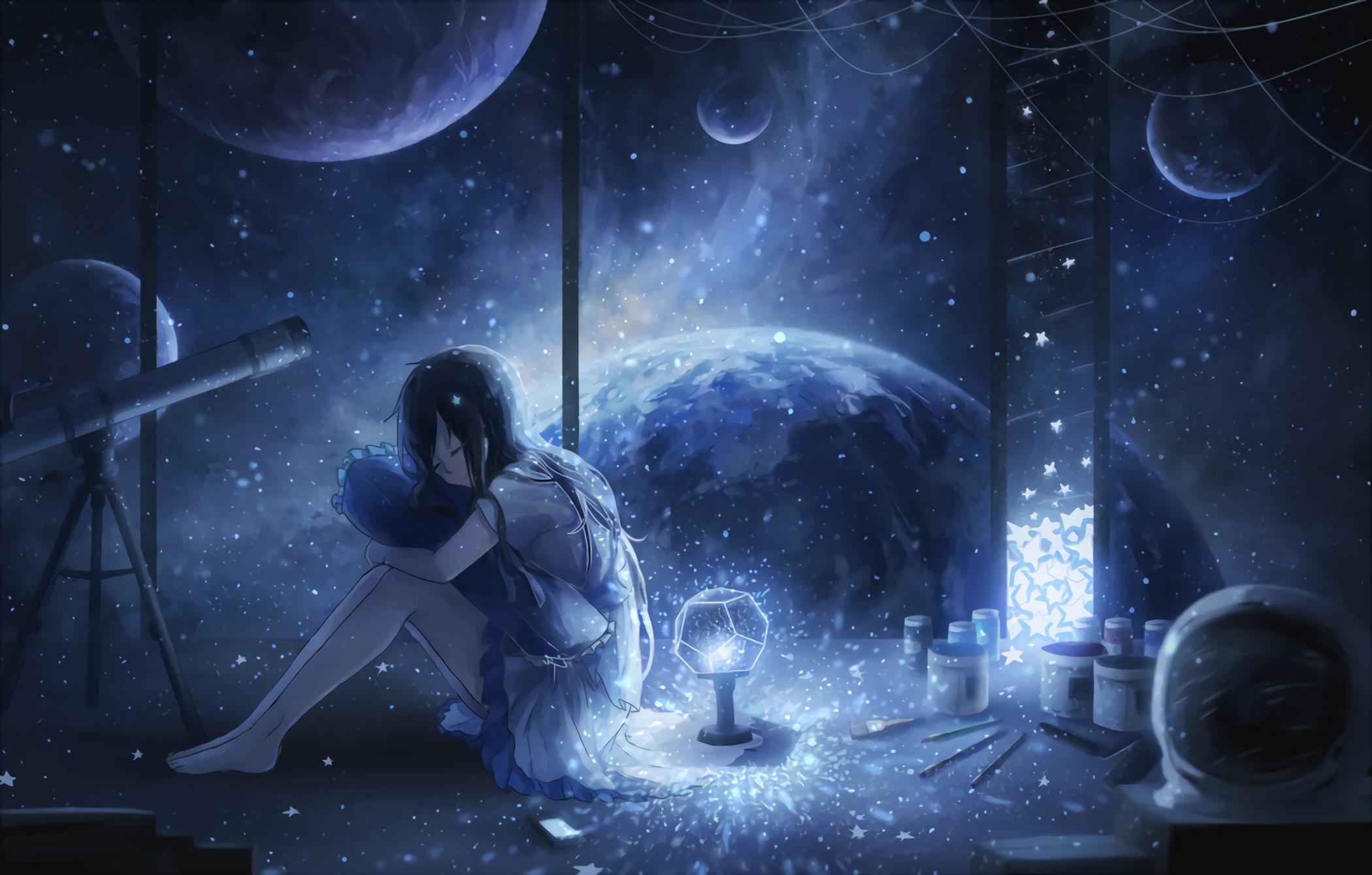 Anime 2100x1340 manga anime anime girls space planetarium telescope barefoot feet dark hair long hair black hair dress white dress night planet paintbrushes smiling pillow closed eyes stars