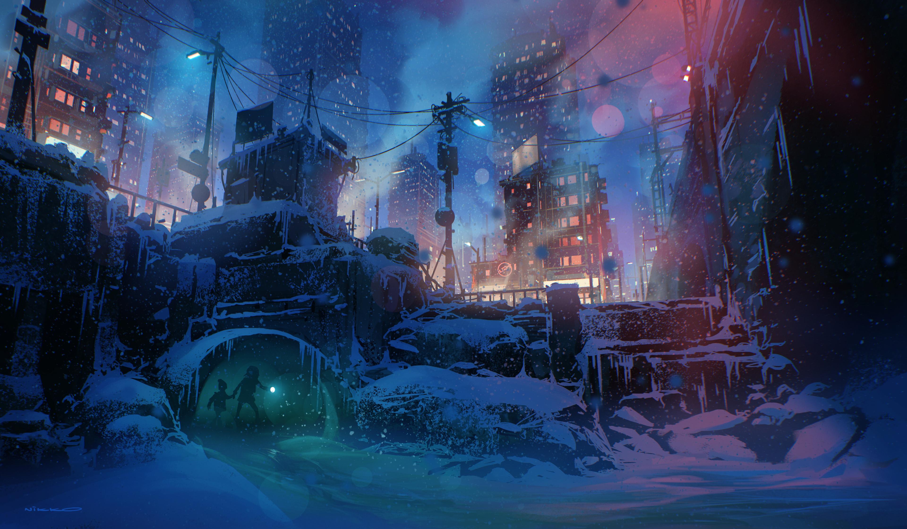 General 3840x2240 Nikolai Lockertsen digital art digital painting snowflakes snow covered winter artwork night snow fan art ArtStation