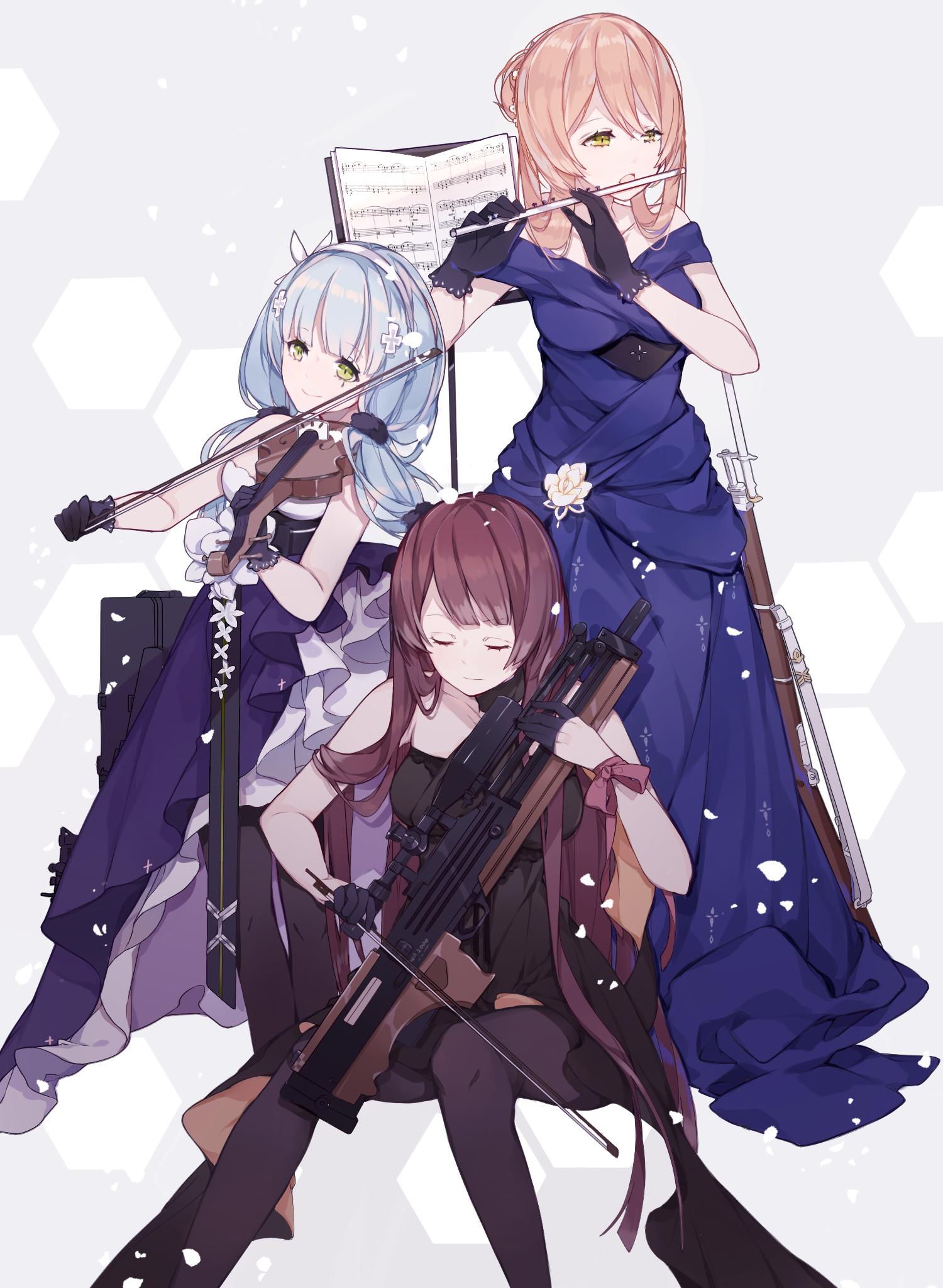 Anime 1500x2048 Mi'yuki anime anime girls portrait display Girls Frontline HK416 (Girls Frontline) Springfield (Girls Frontline) WA2000 (Girls Frontline) violin