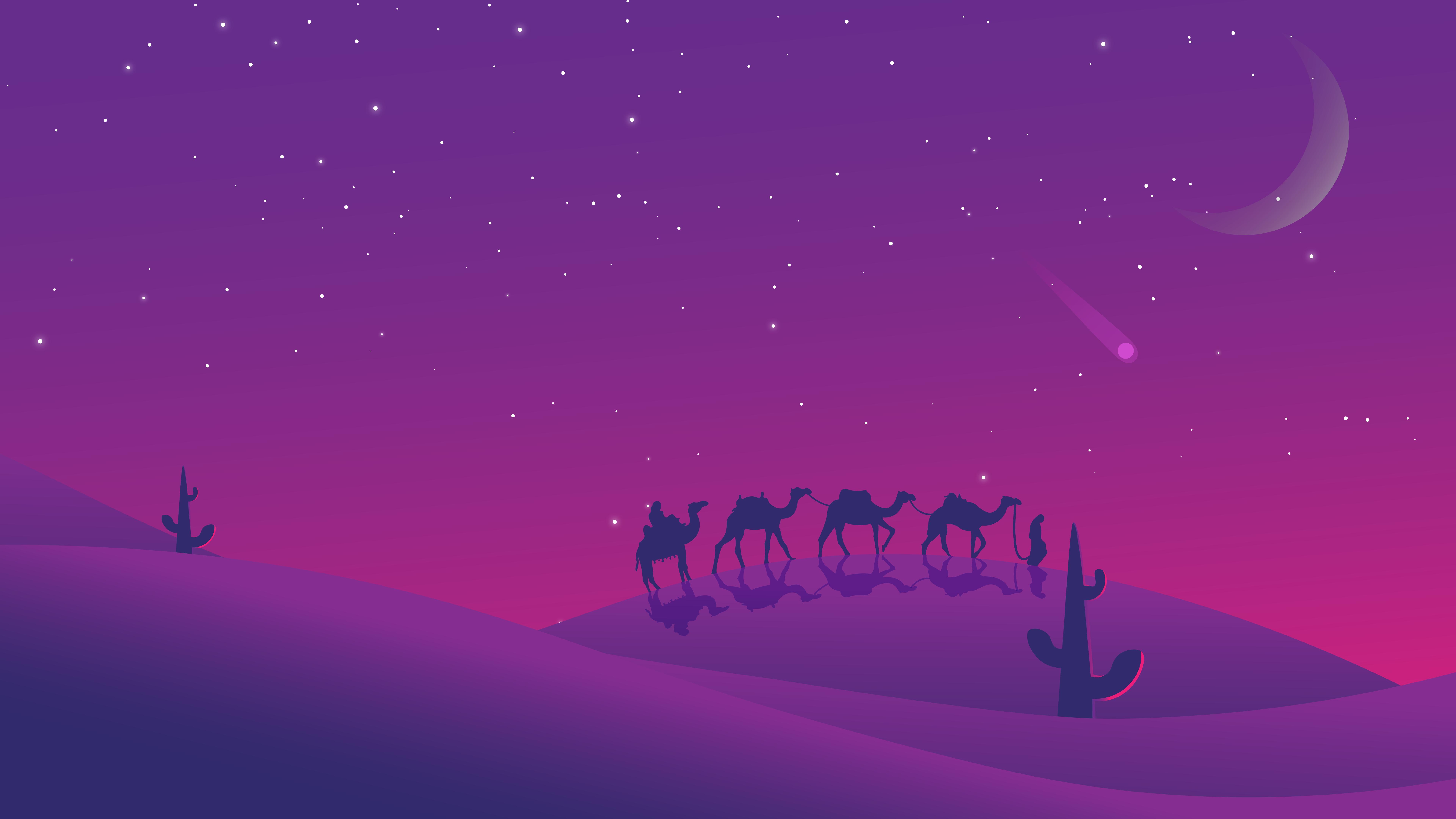 General 7680x4320 landscape desert night shooting stars purple background artwork