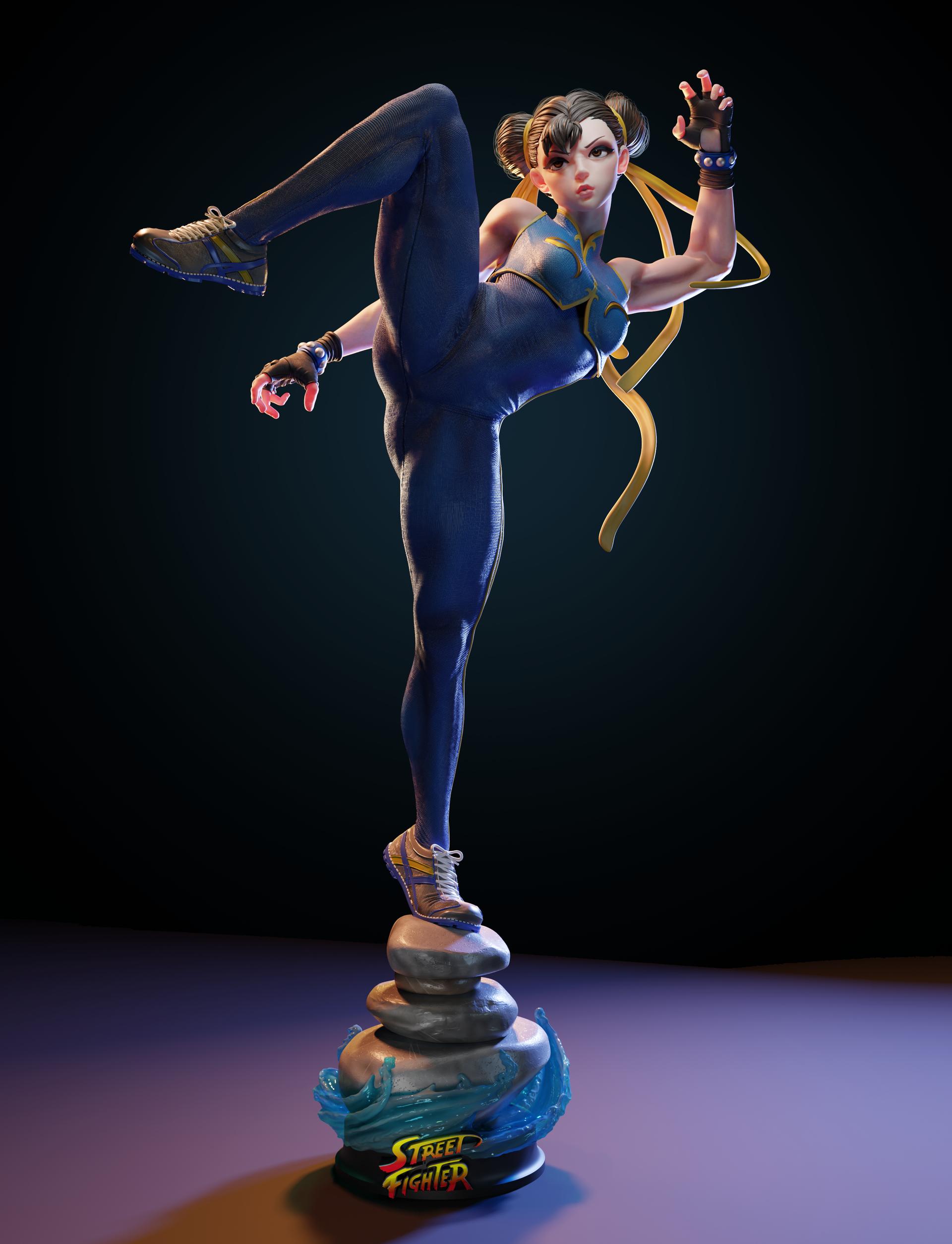 General 1920x2509 Chun-Li digital art video games video game girls video game warriors simple background Street Fighter muscular legs women