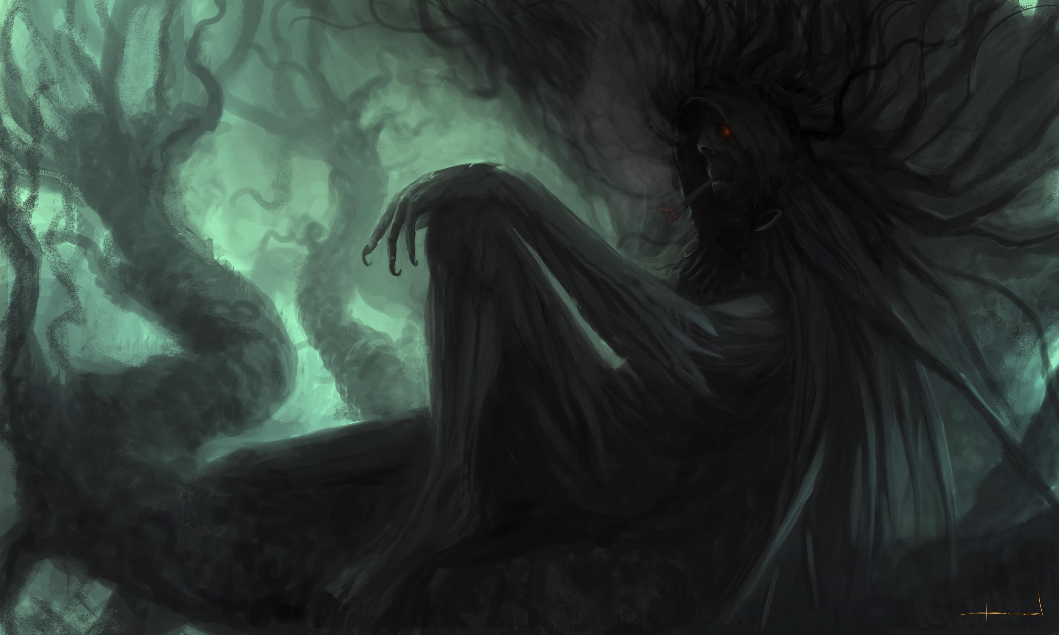 General 4000x2400 fantasy art digital art artwork creature trees branch smoking red eyes creepy rest sitting profile smoke