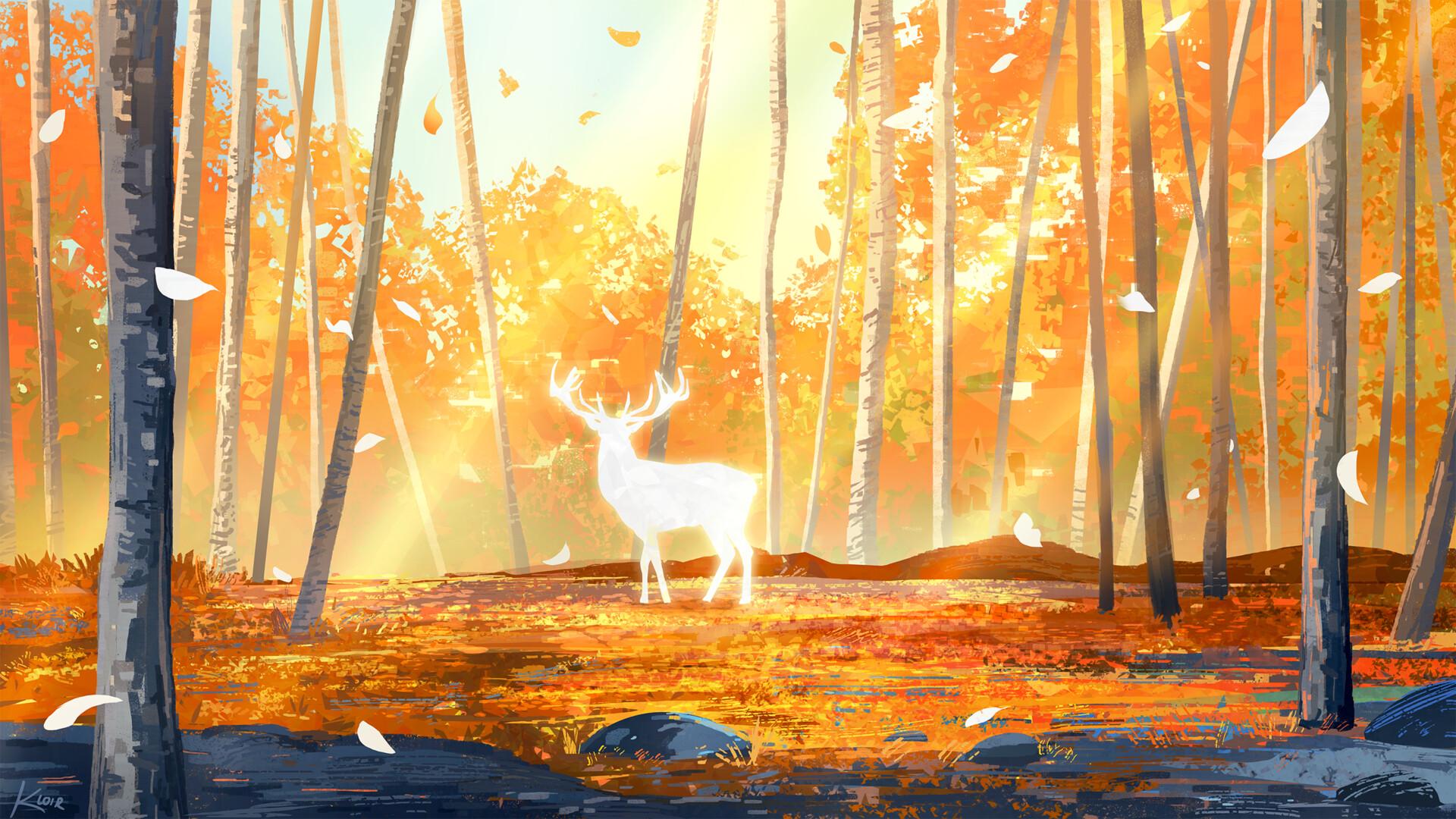 General 1920x1080 digital painting deer forest Samantha Lee leaves