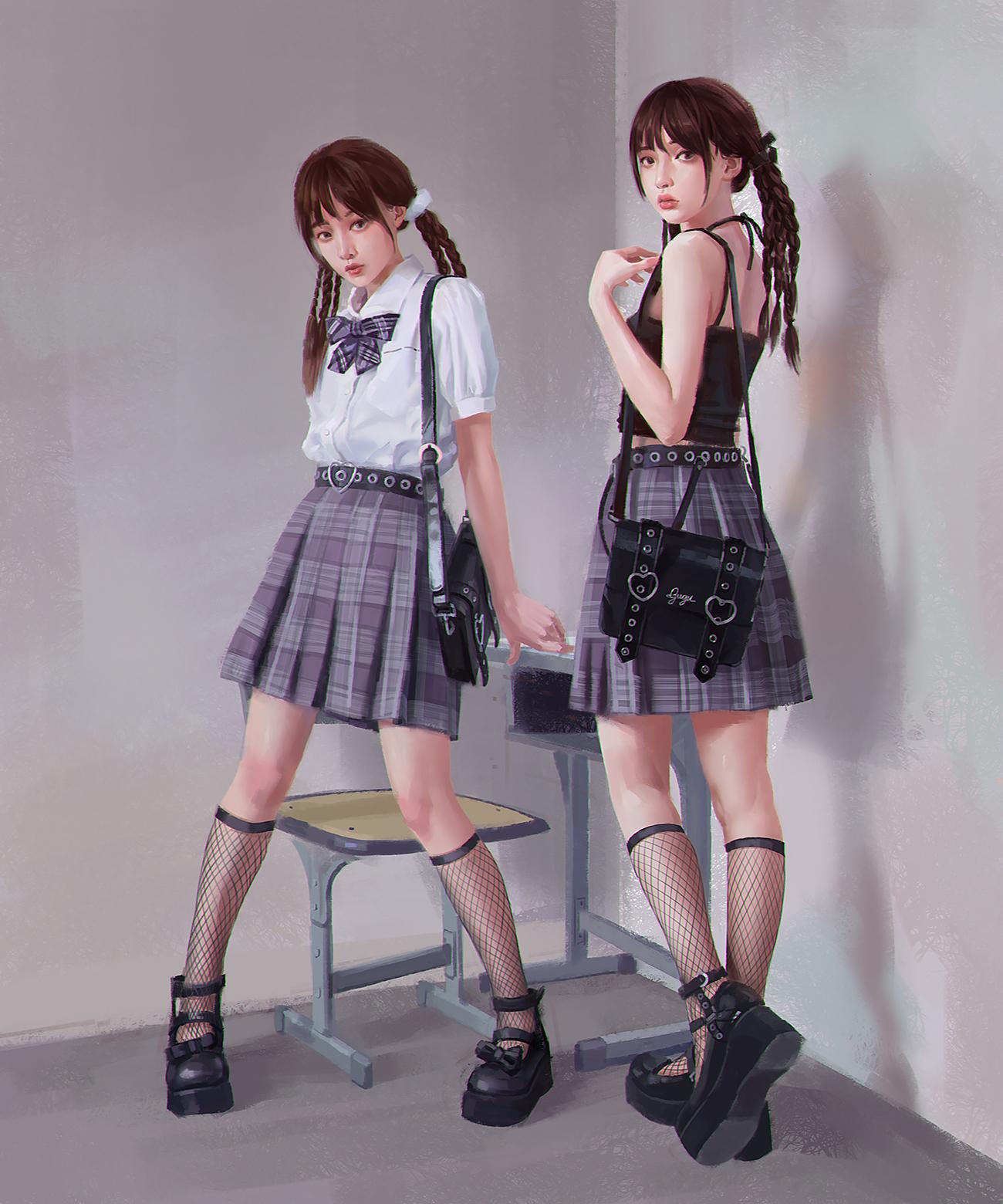 General 1300x1560 fishnet stockings Asian women vertical school uniform