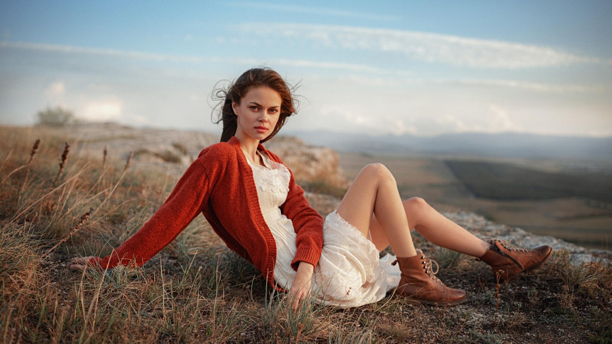 People 2024x1138 Georgy Chernyadyev women outdoors looking at viewer women outdoors boots sitting legs dress white dress brunette cardigan