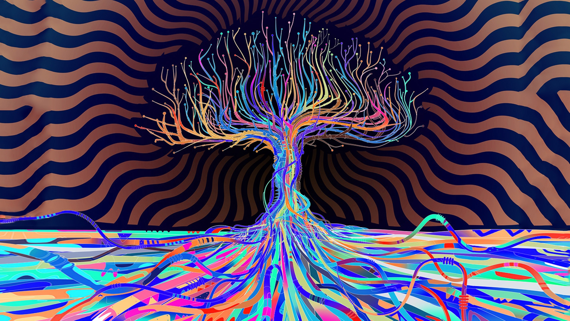 General 1920x1080 trees abstract Matei Apostolescu artwork psychedelic surreal colorful blue cyan turquoise