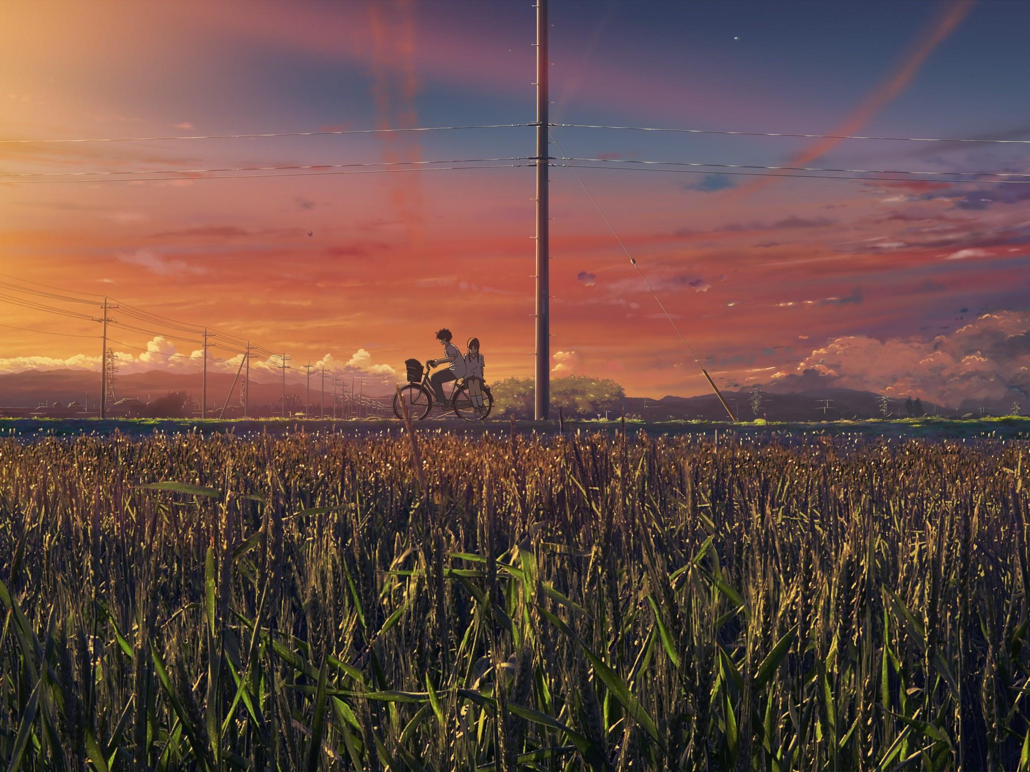 Anime 2048x1536 anime field sky plants outdoors vehicle bicycle anime girls anime boys sunlight