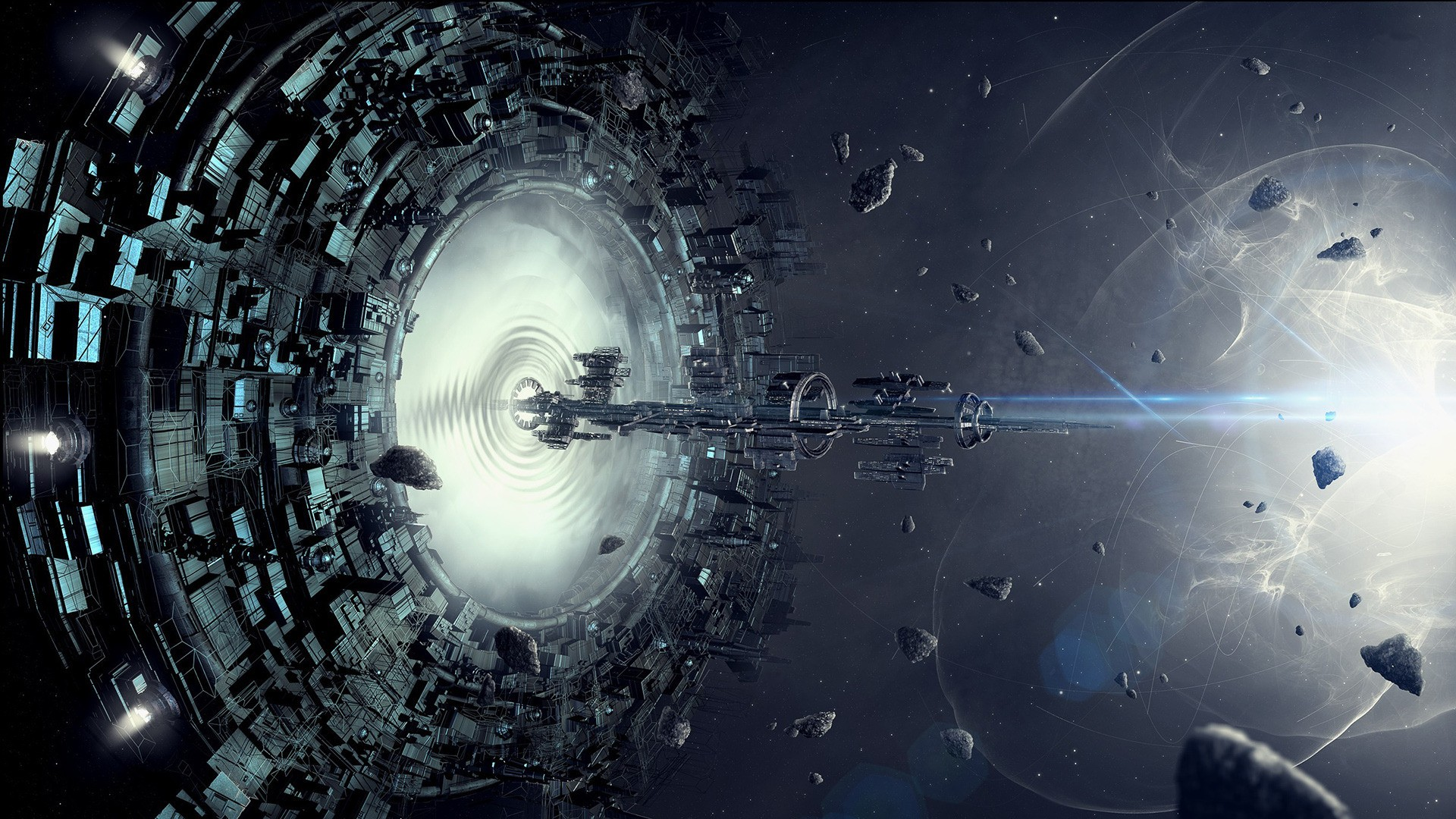 General 1920x1080 artwork fantasy art concept art spaceship stars space digital art