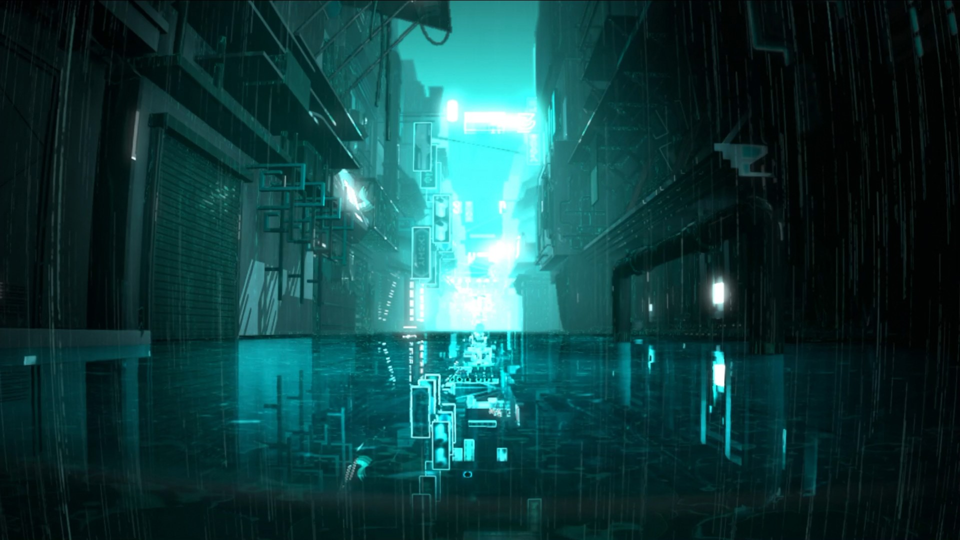 General 1920x1080 Tron movies cyan rain alleyway dark night wet street neon reflection