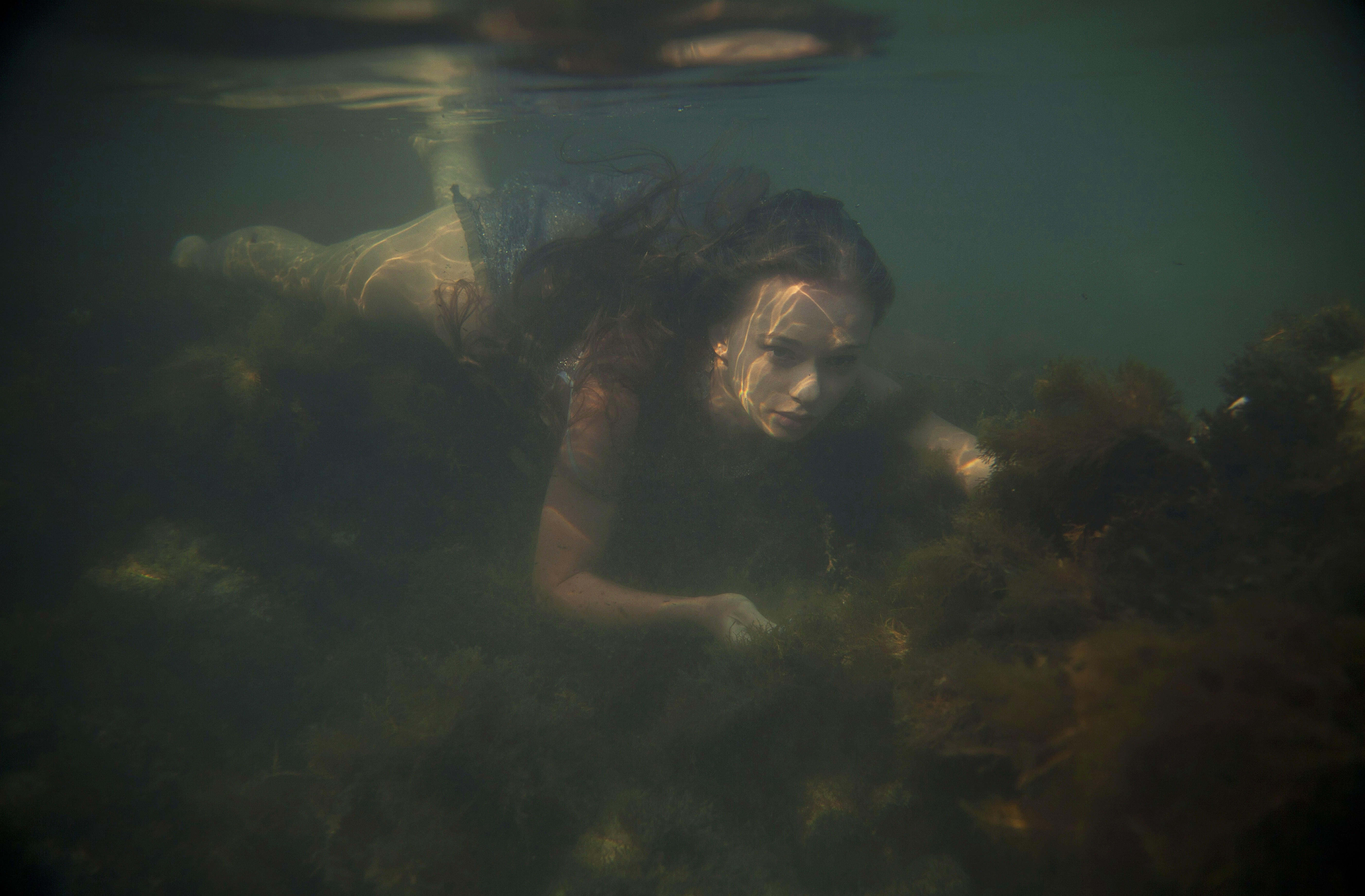 People 5616x3688 underwater swimming women Milena D women outdoors model brunette