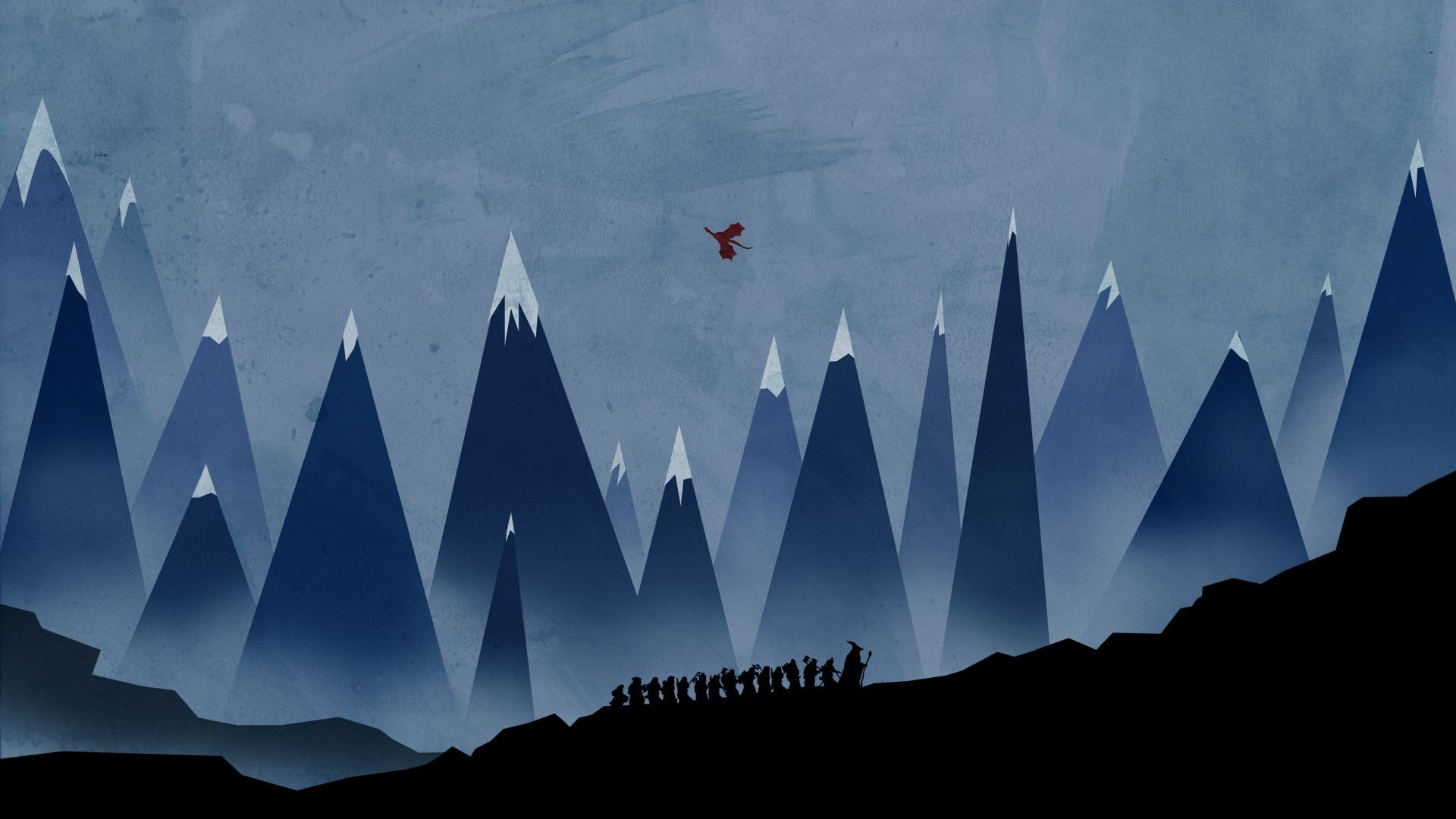General 1920x1080 The Hobbit minimalism abstract Gandalf mountains Smaug artwork dragon silhouette fantasy art