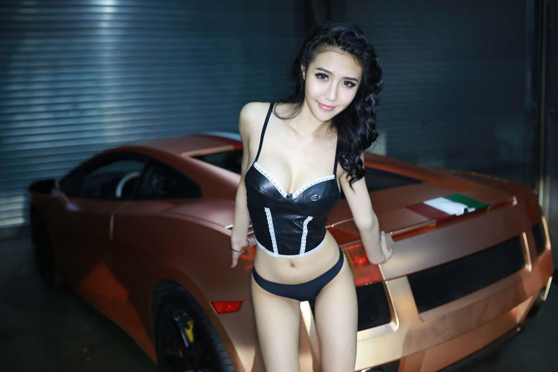 People 1500x1000 women Asian black lingerie smiling skinny car