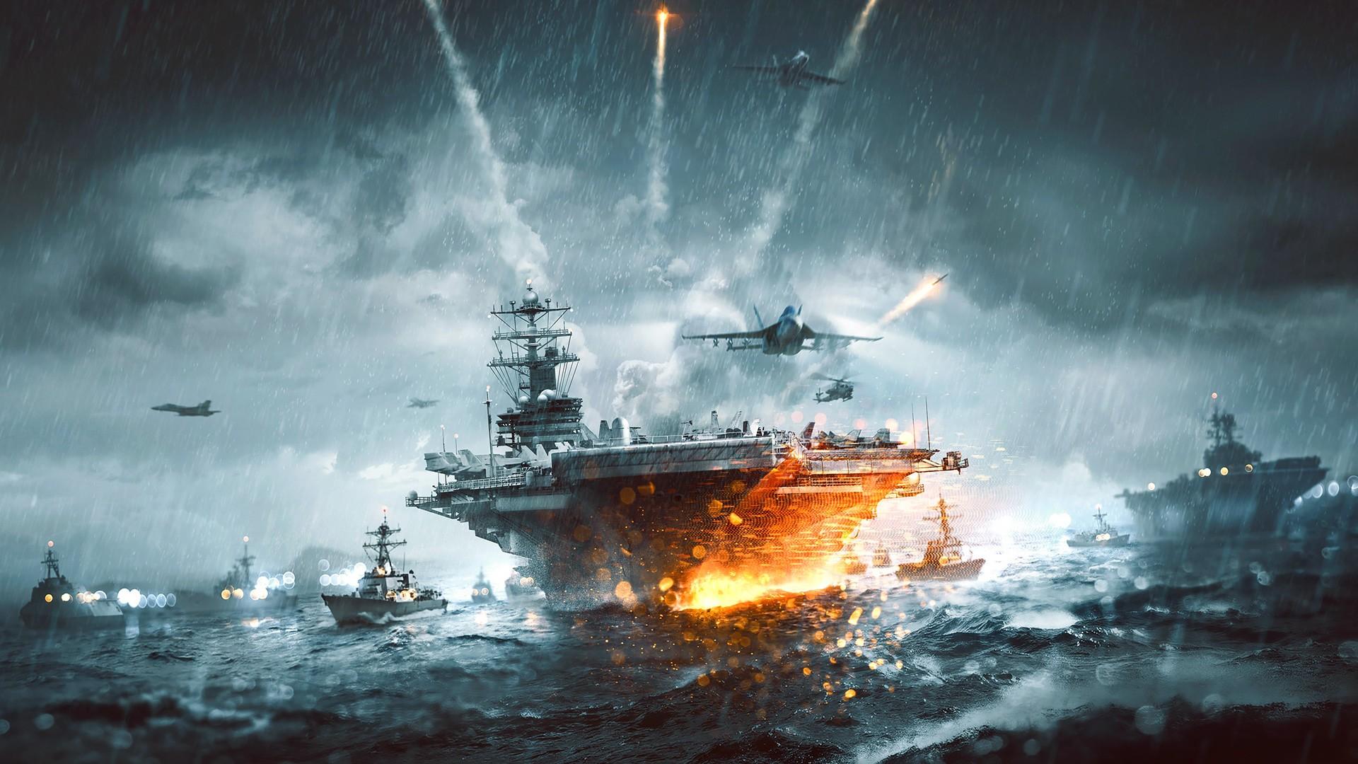 General 1920x1080 video games Battlefield 3 military aircraft carrier fleets aircraft military aircraft sea rain McDonnell Douglas F/A-18 Hornet