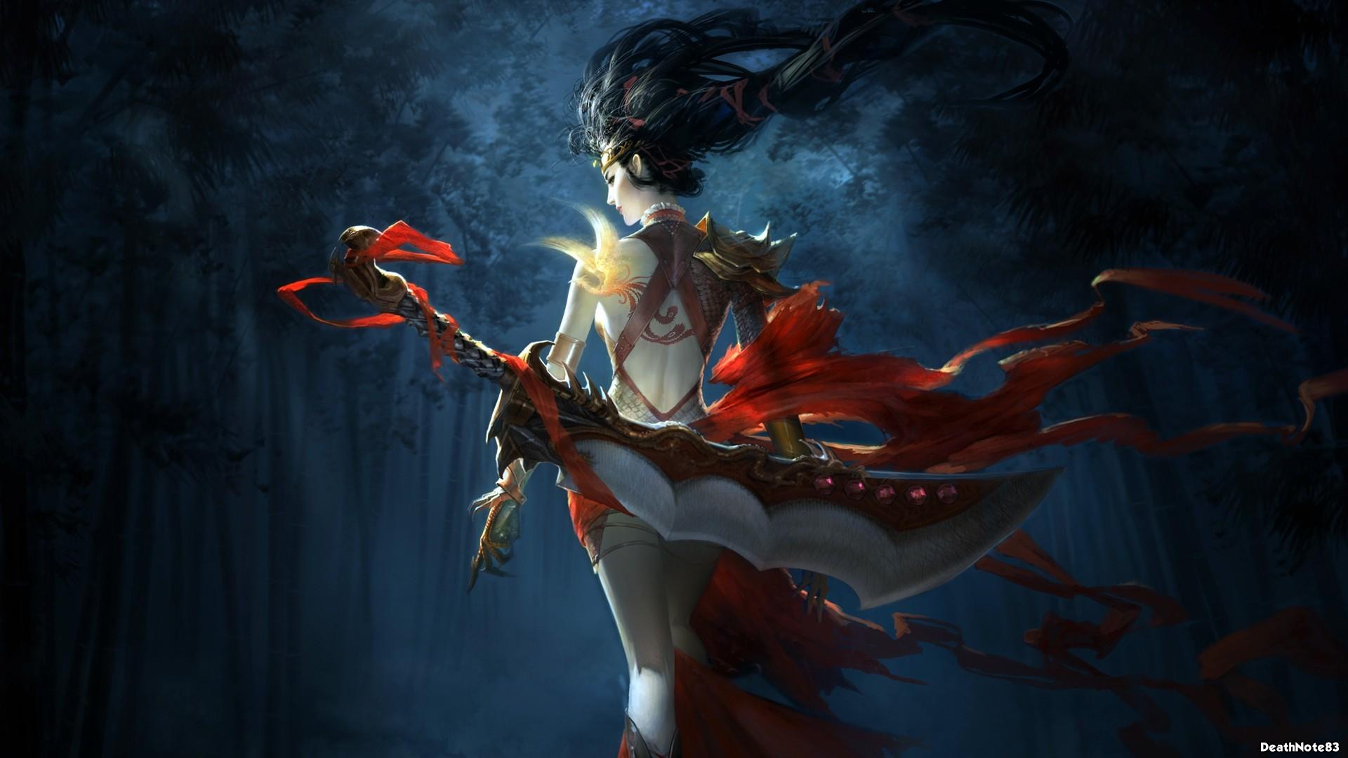 General 1920x1080 fantasy art women warrior sword red