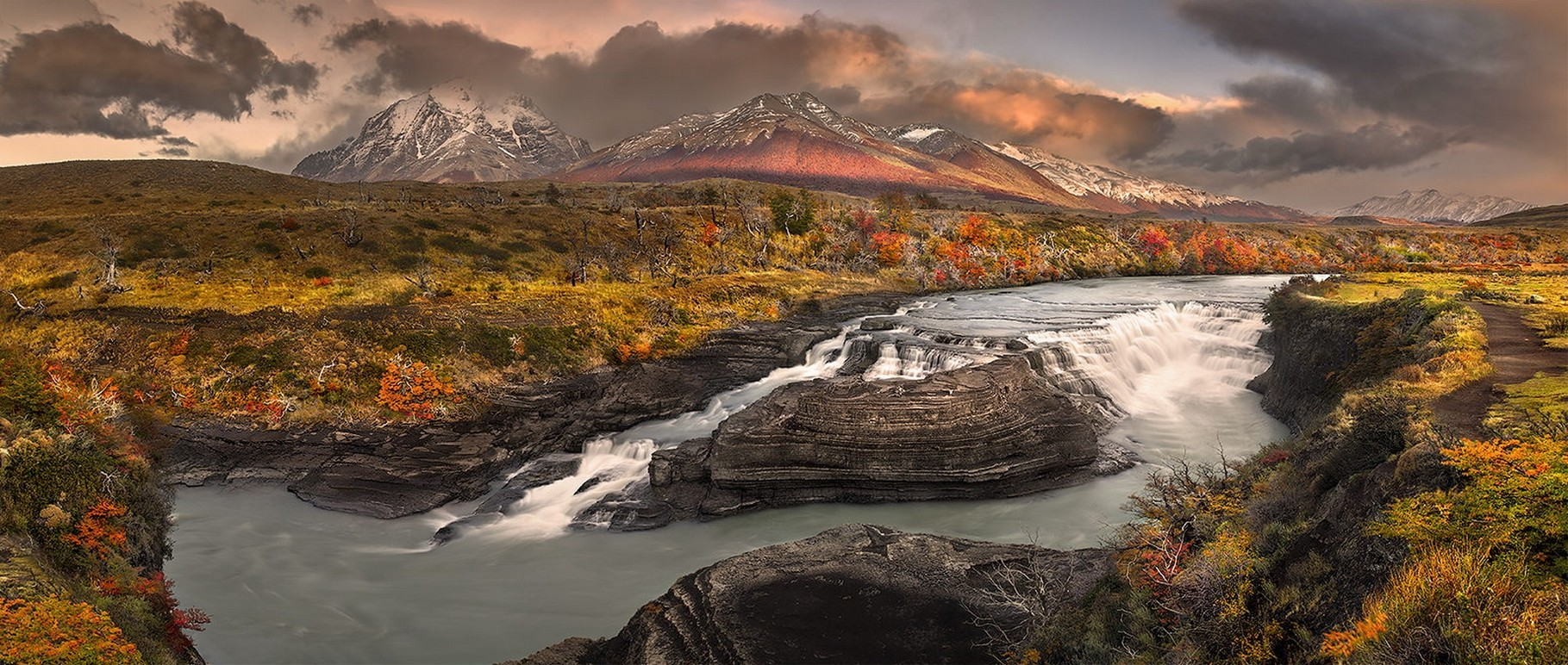 General 1819x772 landscape nature panoramas river rapids grass shrubs mountains clouds fall snowy peak Patagonia Chile