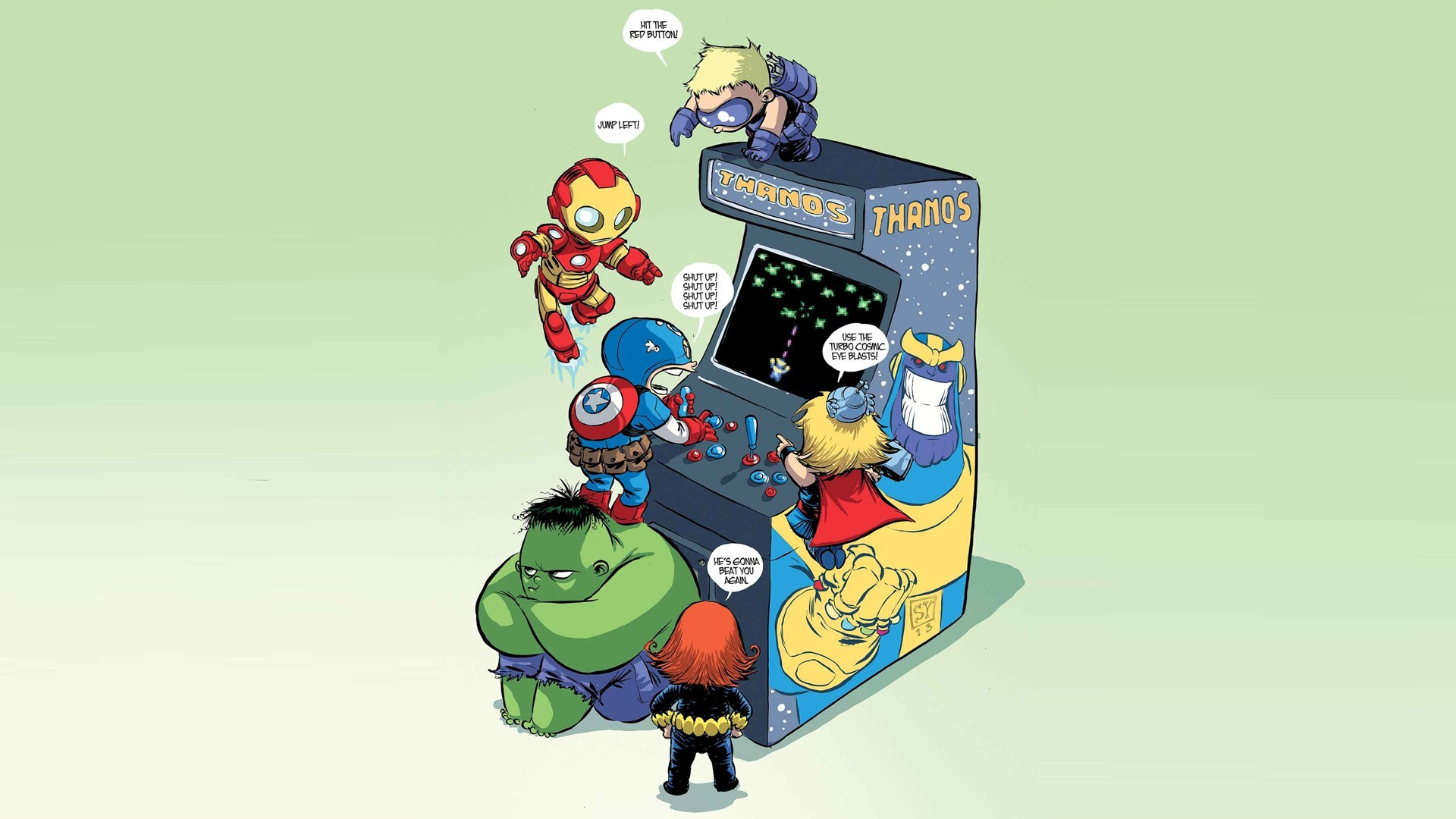 General 1920x1080 Marvel Comics movies Marvel Heroes Iron Man Stark Industries Hulk Captain America Thor Thanos arcade cabinet
