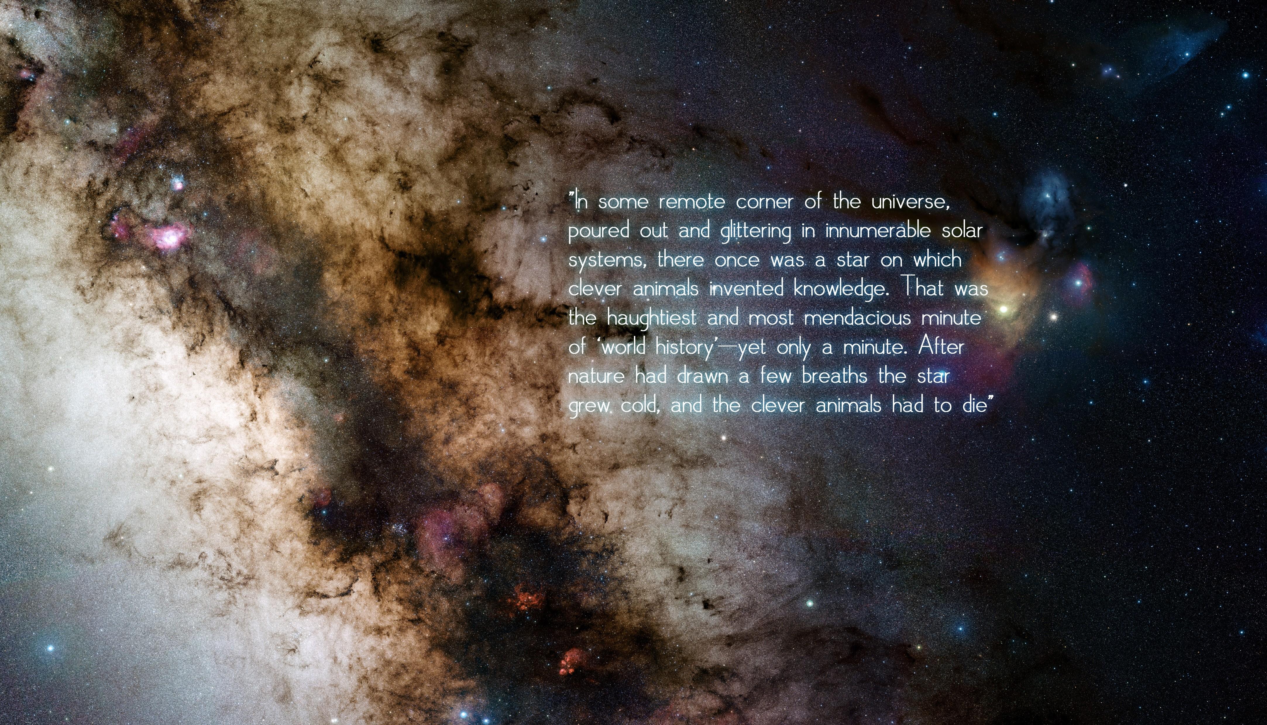 General 4331x2480 universe space stars quote Friedrich Nietzsche philosophy
