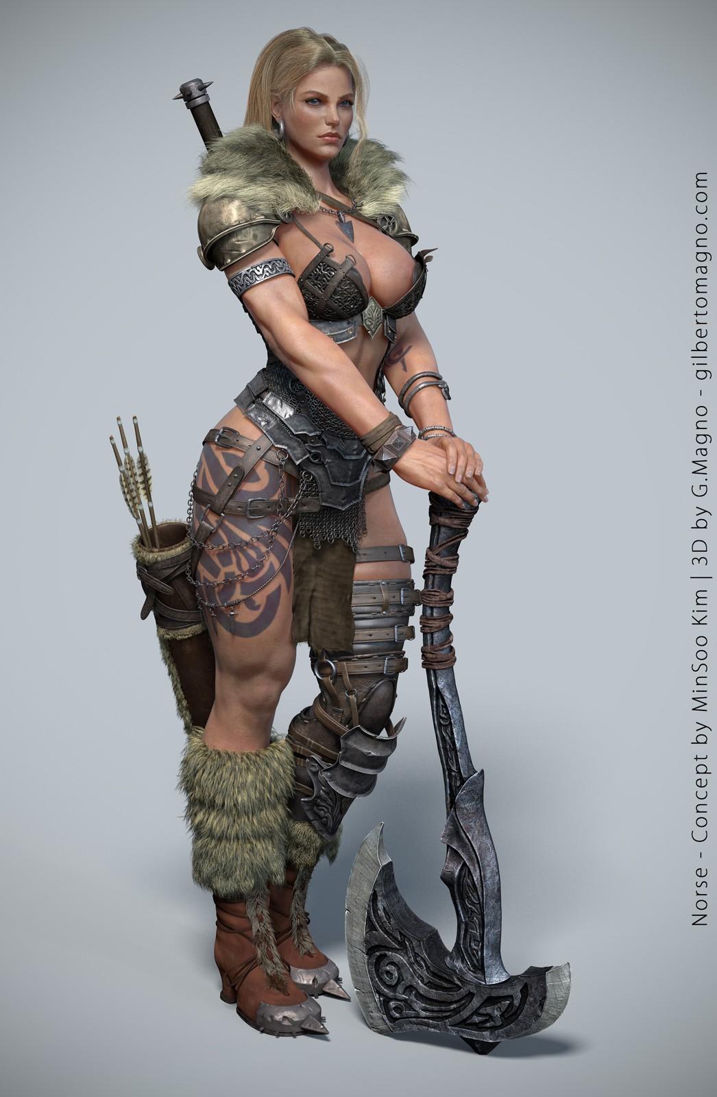 General 1046x1600 norse women render 3D big boobs warrior fantasy girl fantasy art digital art simple background axes weapon Barbarian cleavage